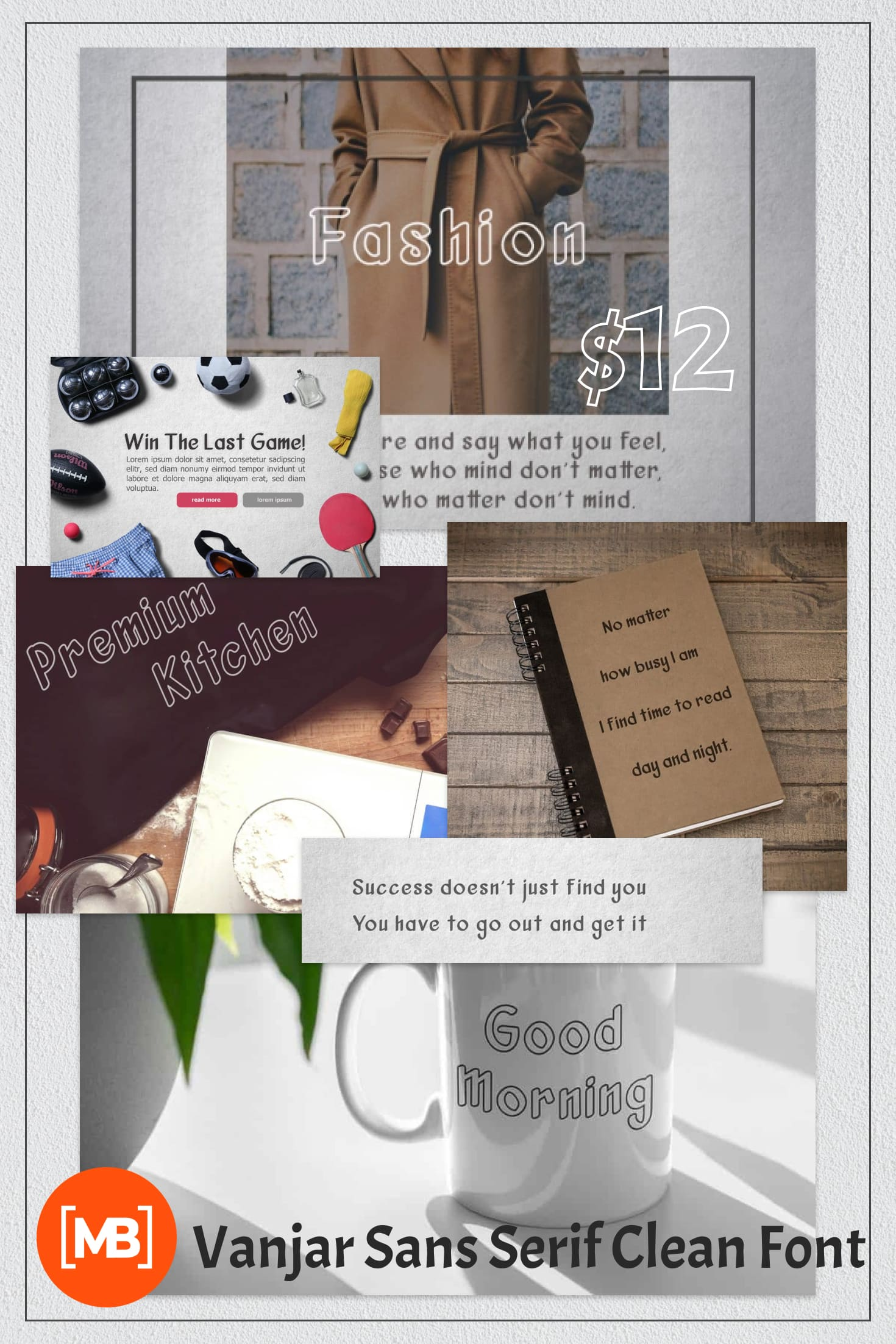 Pinterest Image: Vanjar Sans Serif Clean Font.