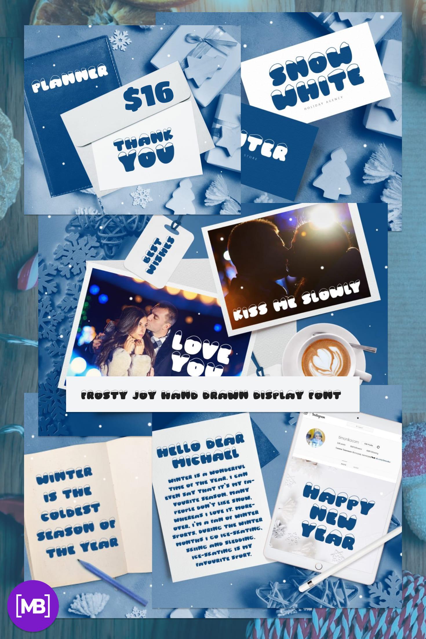 Pinterest Image: Frosty Joy Hand Drawn Display Font. Best Winter Font.