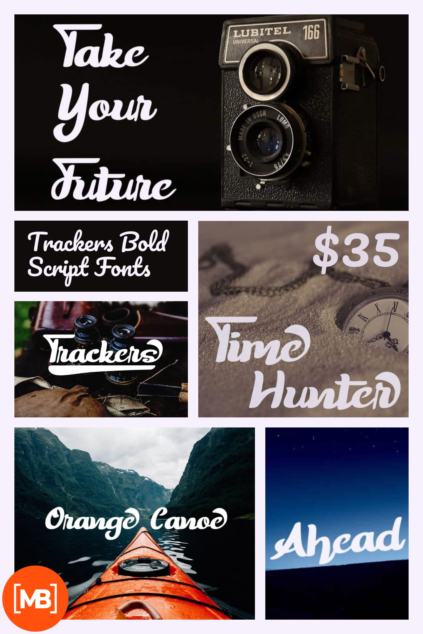 Pinterest Image: Trackers Bold Script Fonts - $12.