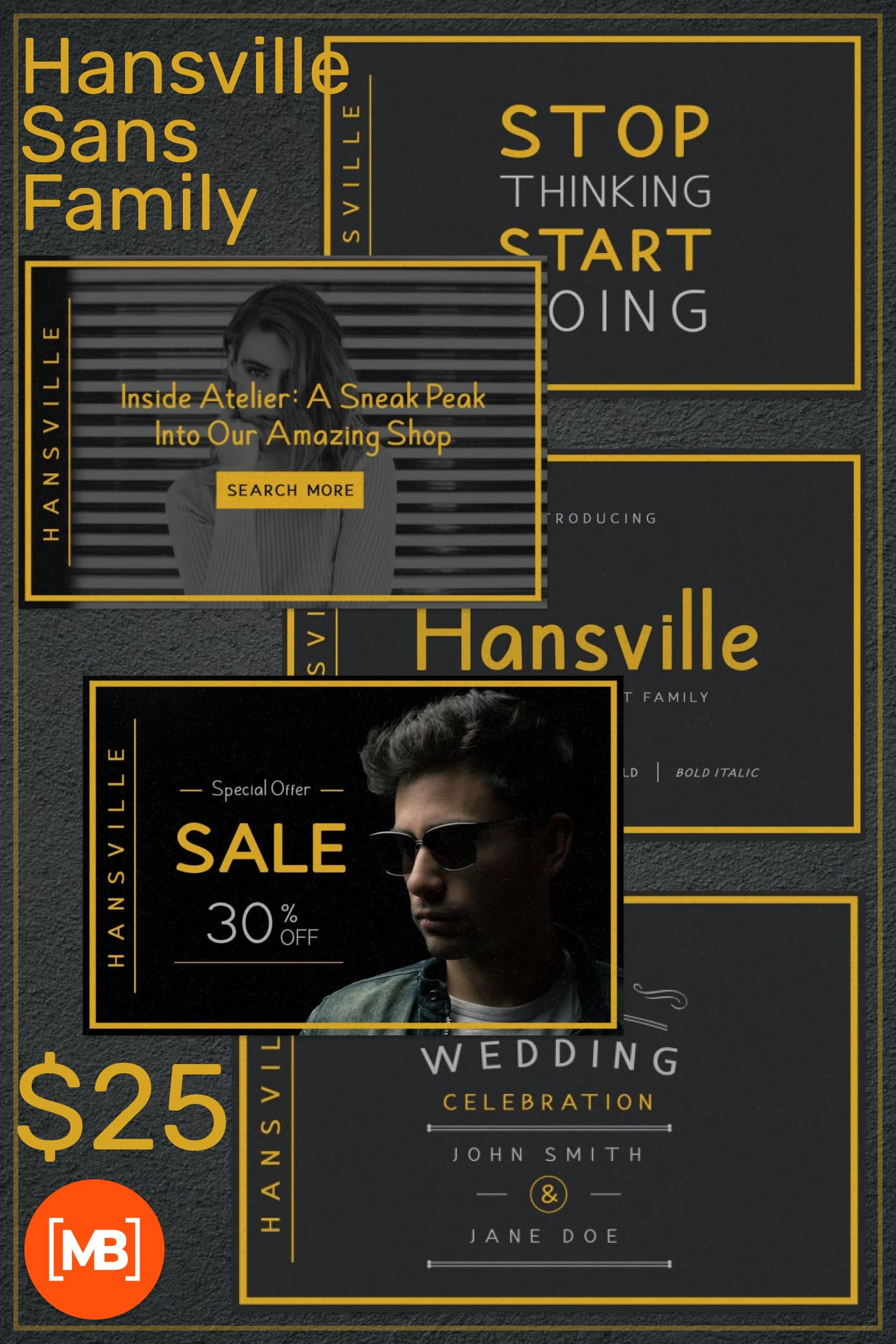 Pinterest Image: Hansville Sans Family - $10.