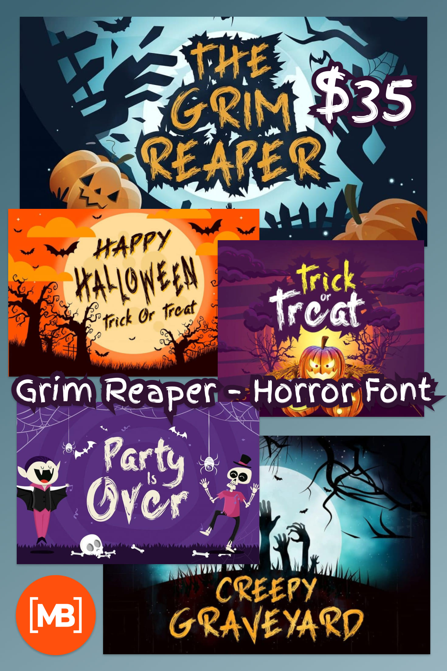 Pinterest Image: Grim Reaper - Horror Font $12.