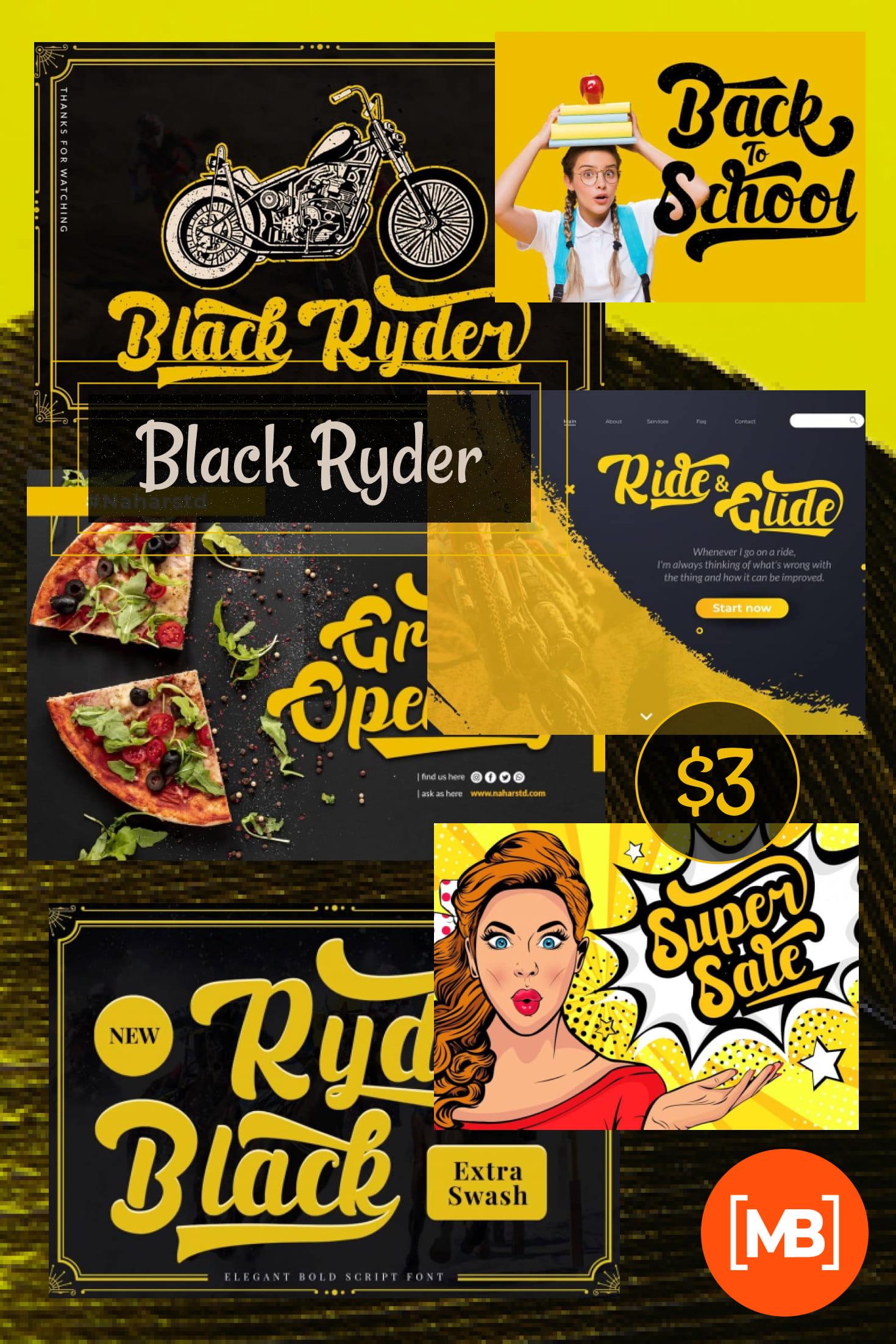 Pinterest Image: Black Ryder - Bold Script Font - $3.