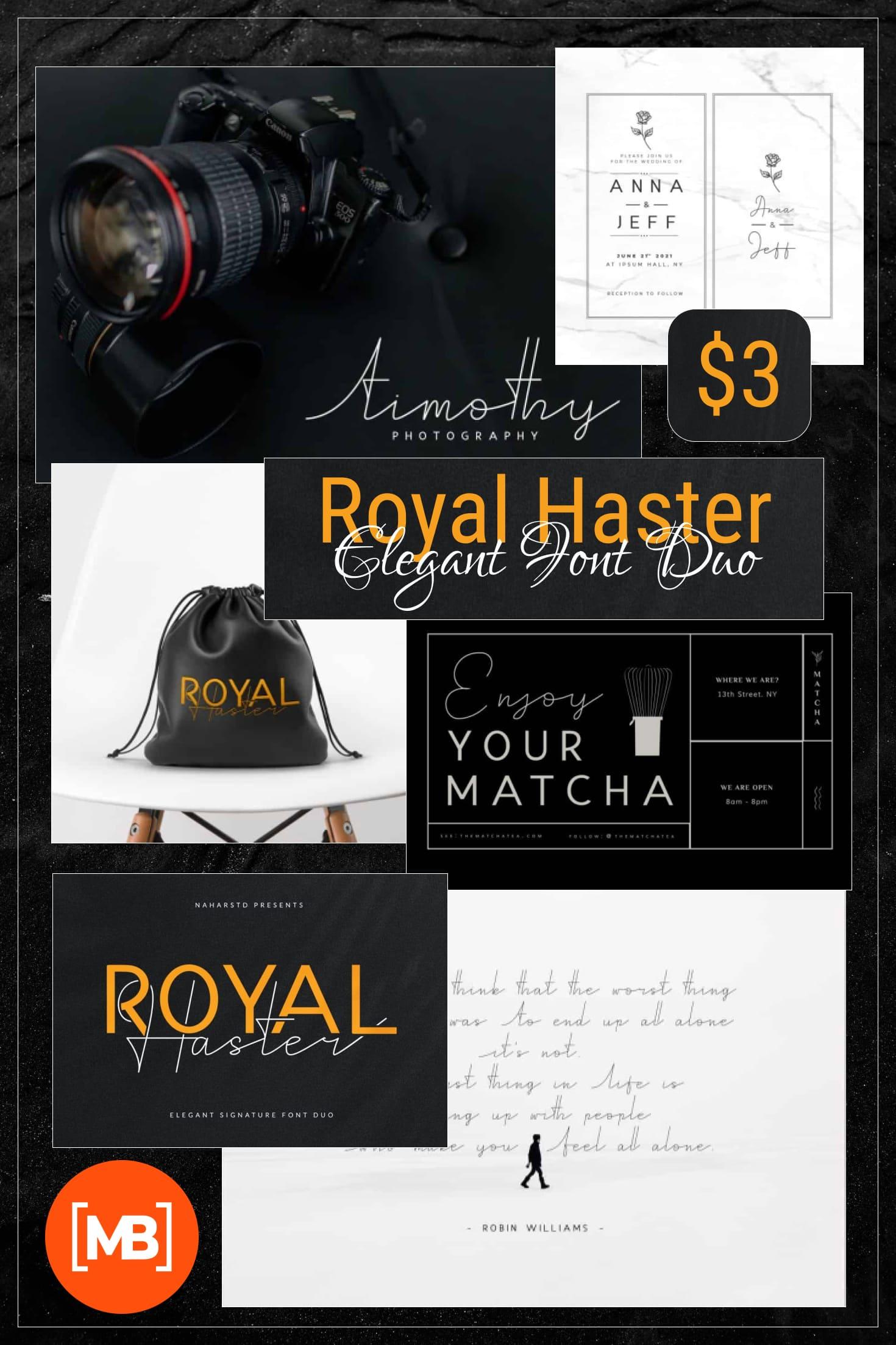 Pinterest Image: Royal Haster - Elegant Font Duo -$3.