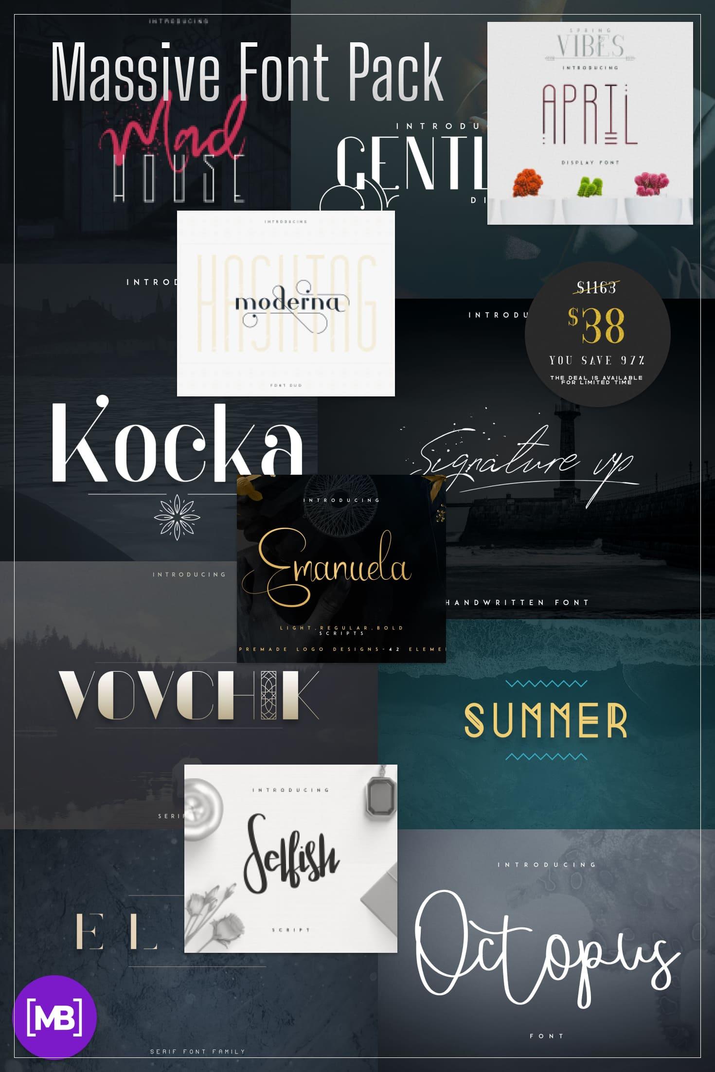 Pinterest Image: Massive Font Pack - 197 Fonts in 52 Font Families.