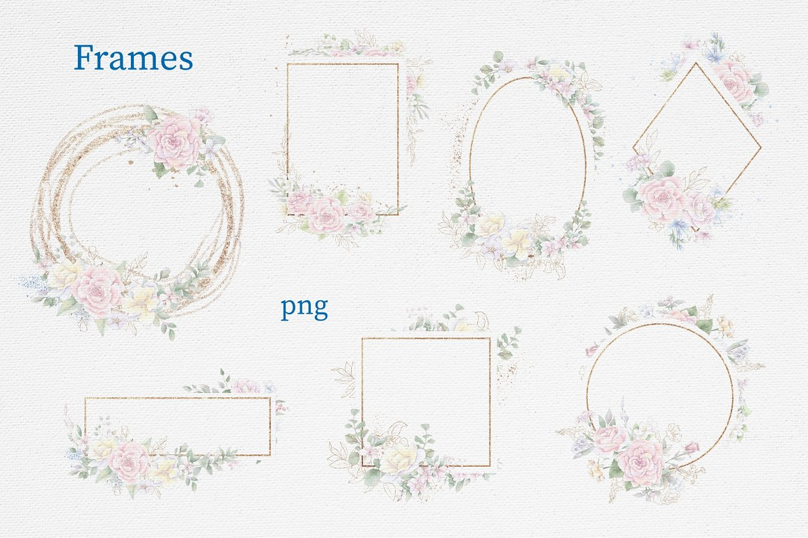 Pink Roses Clipart: Watercolor flowers PNG - 14