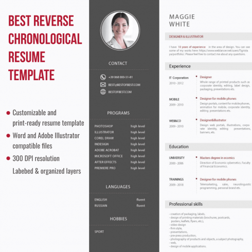 Best Reverse Chronological Resume Template. Cover image.