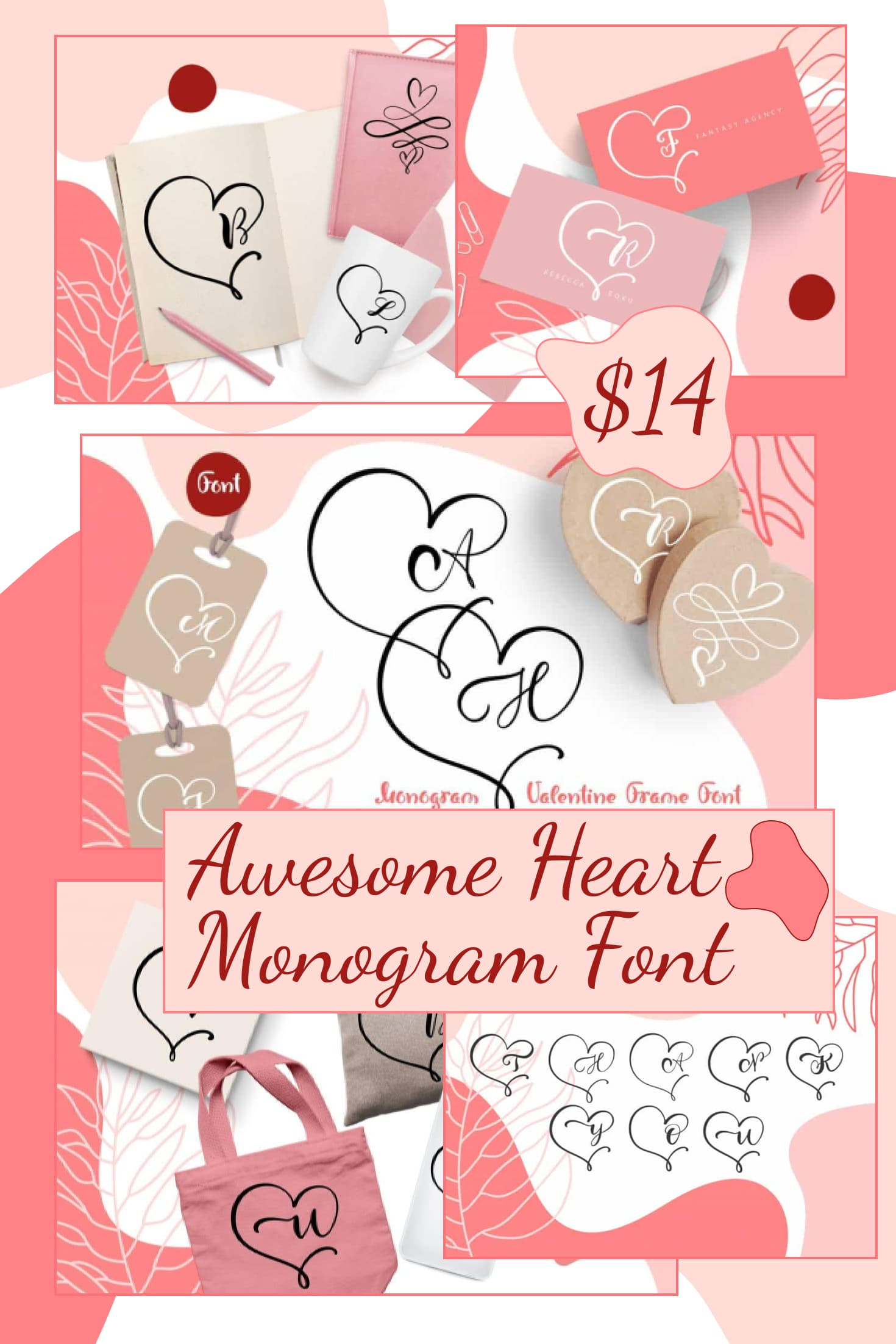 Pinterest Image: Awesome Heart Monogram Font in 2020.