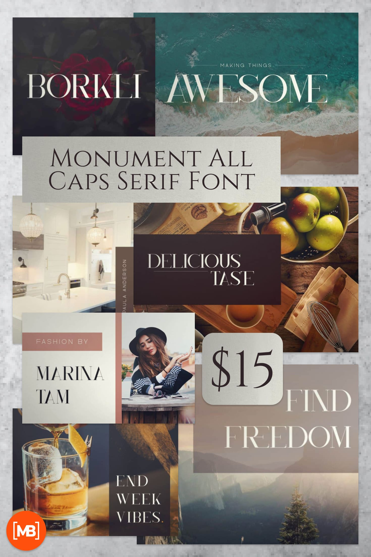Pinterest Image: Monument All Caps Serif Font - $15.