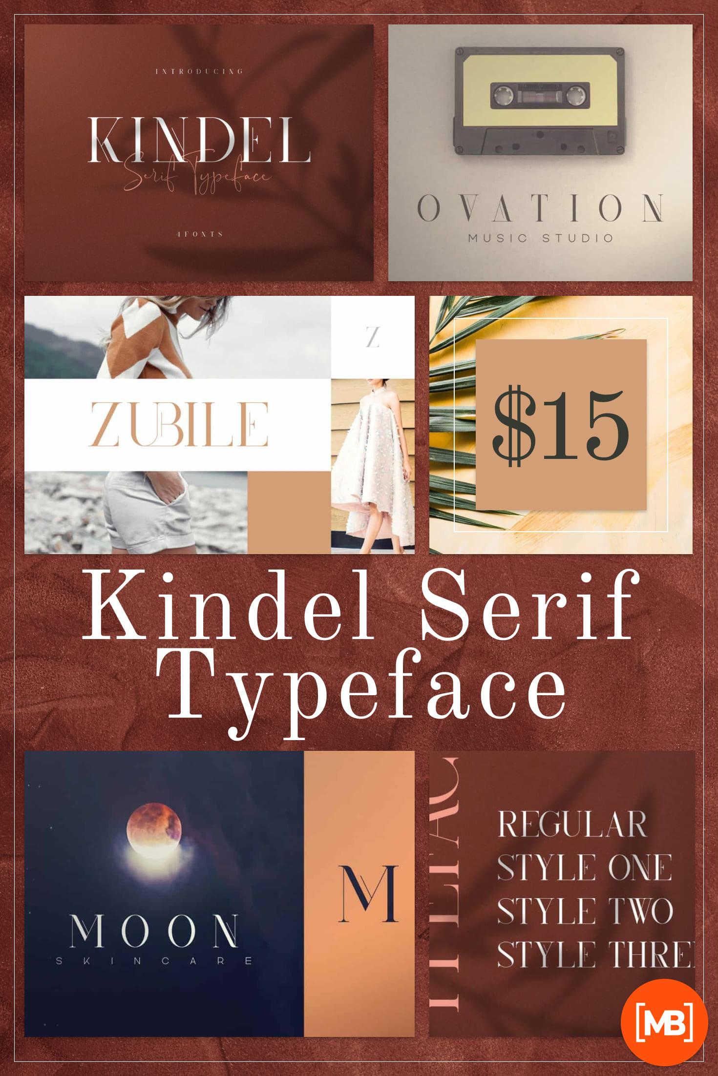Pinterest Image: Kindel - Serif Typeface 4 Styles.