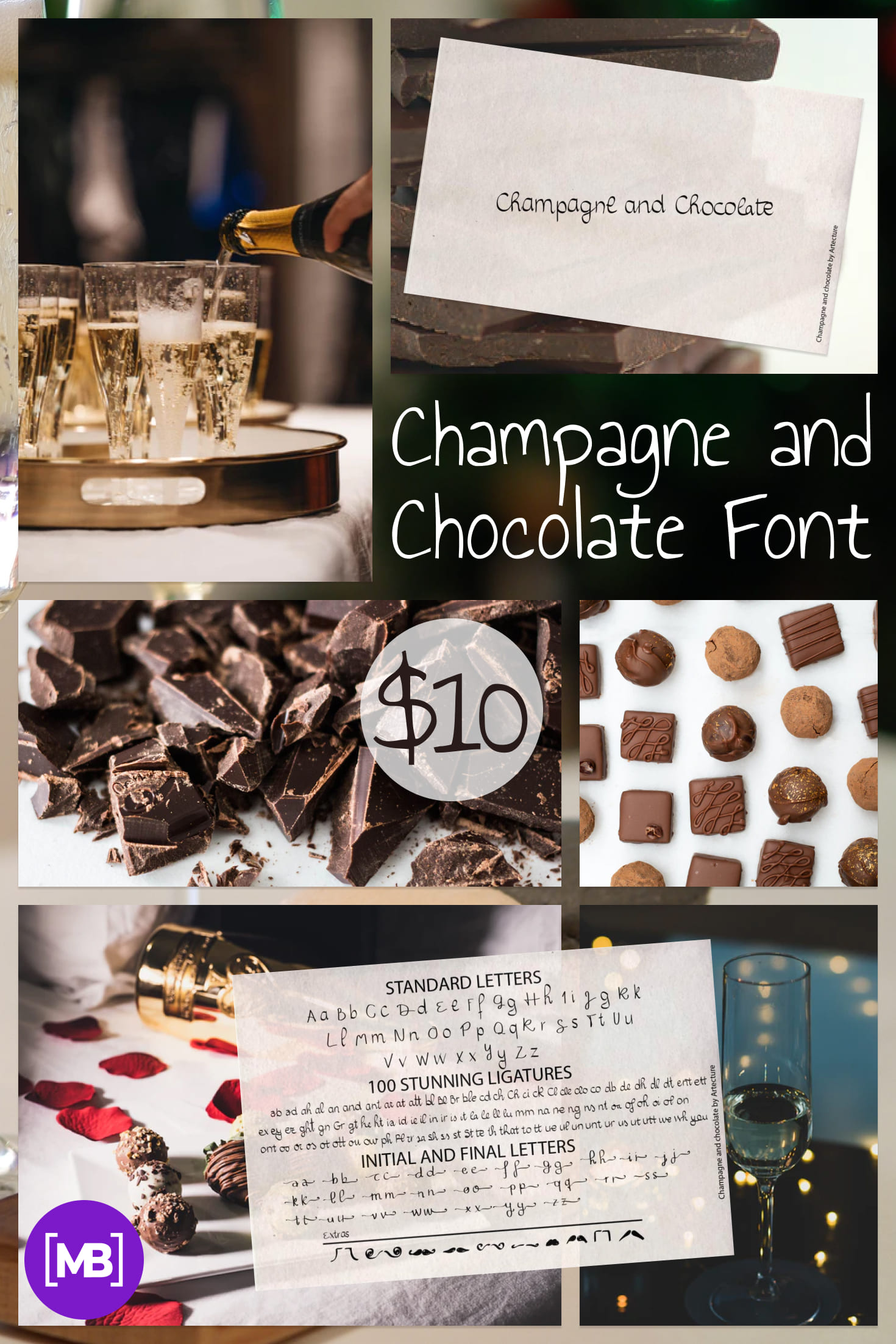 Pinterest Image: Champagne and Chocolate Font 2020 - $10.