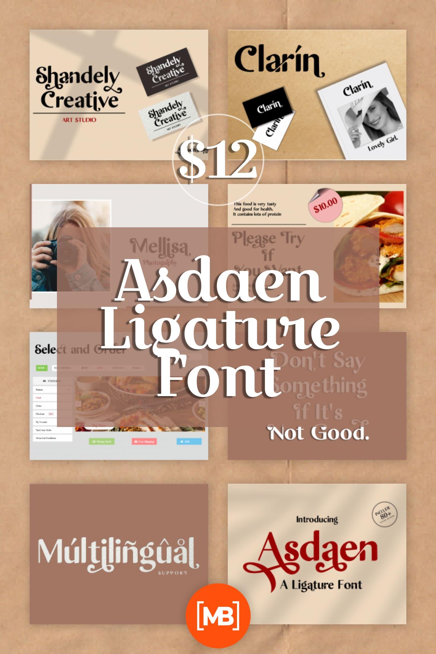 Pinterest Image: Asdaen Ligature Font - $12.