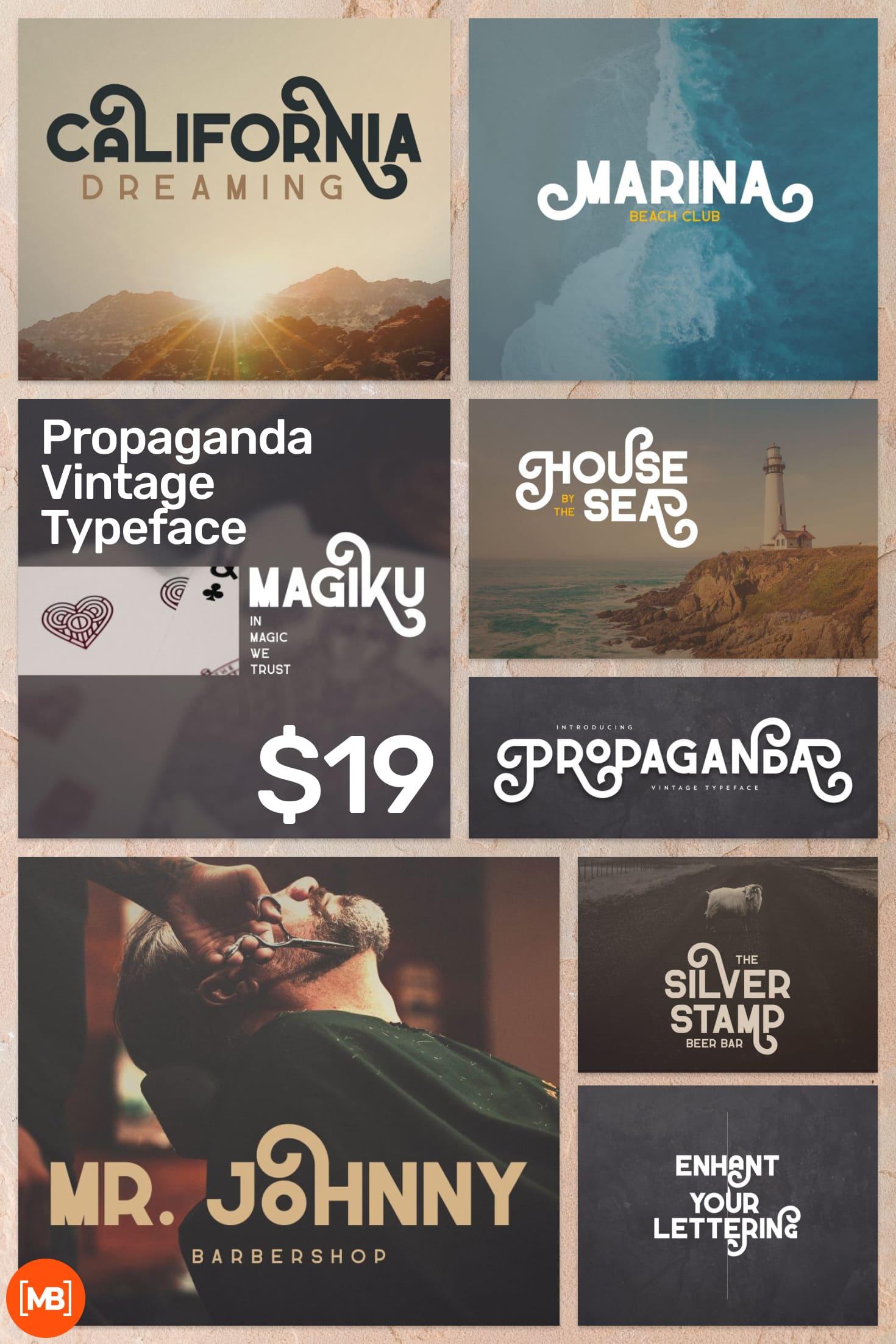 Pinterest Image: Propaganda Vintage Typeface - $19.