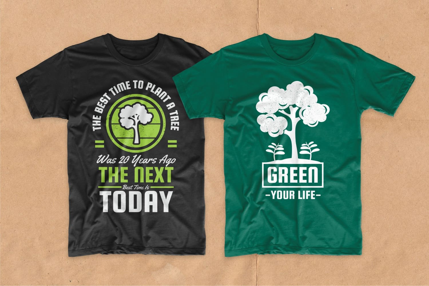 Black and green T-shirts with a tree.