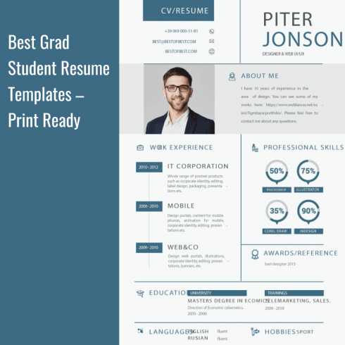 Best Grad Student Resume Templates. Cover image.