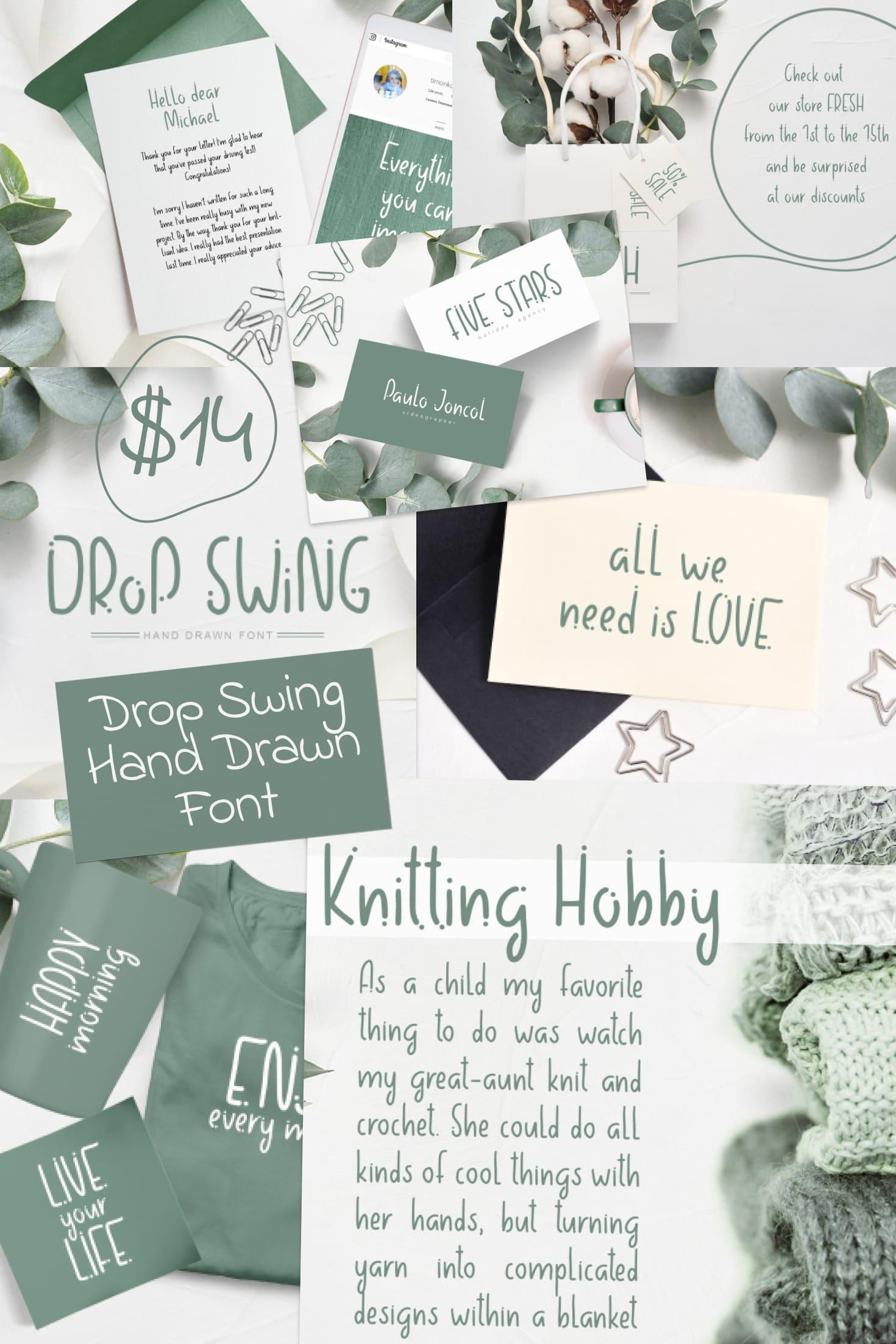 Pinterest Image: Drop Swing Hand Drawn Font - $14.