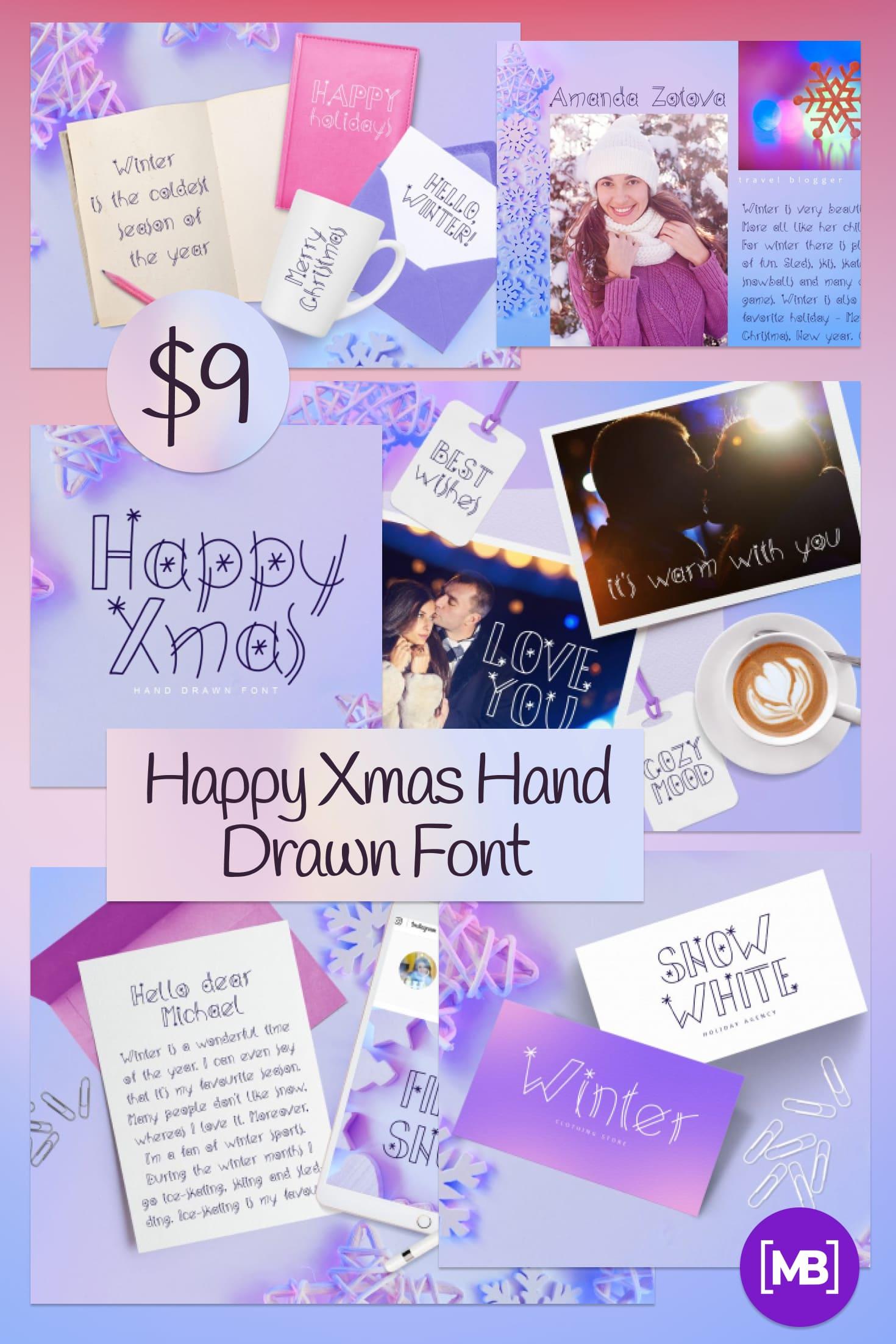 Pinterest Image: Happy Xmas Hand Drawn Font - $9.