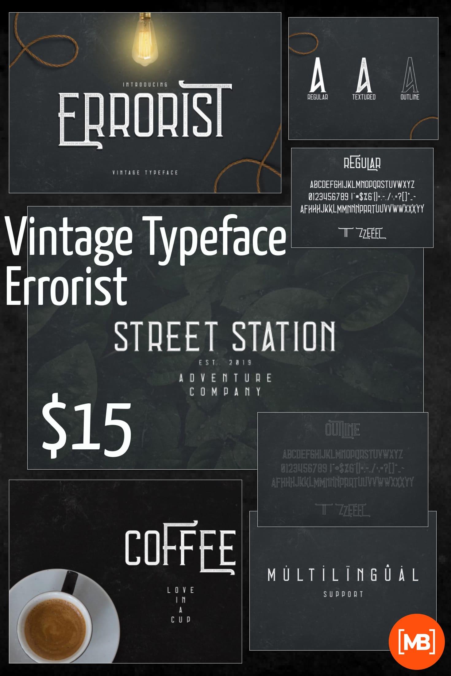Pinterest Image: Vintage Typeface Errorist - 3 styles - $15.