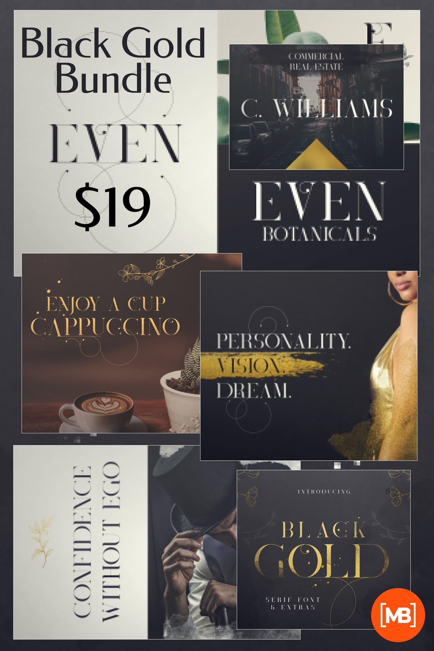 Pinterest Image: Black Gold Bundle: Serif Font, Elements, Ornaments, Photoshop Styles - $19.