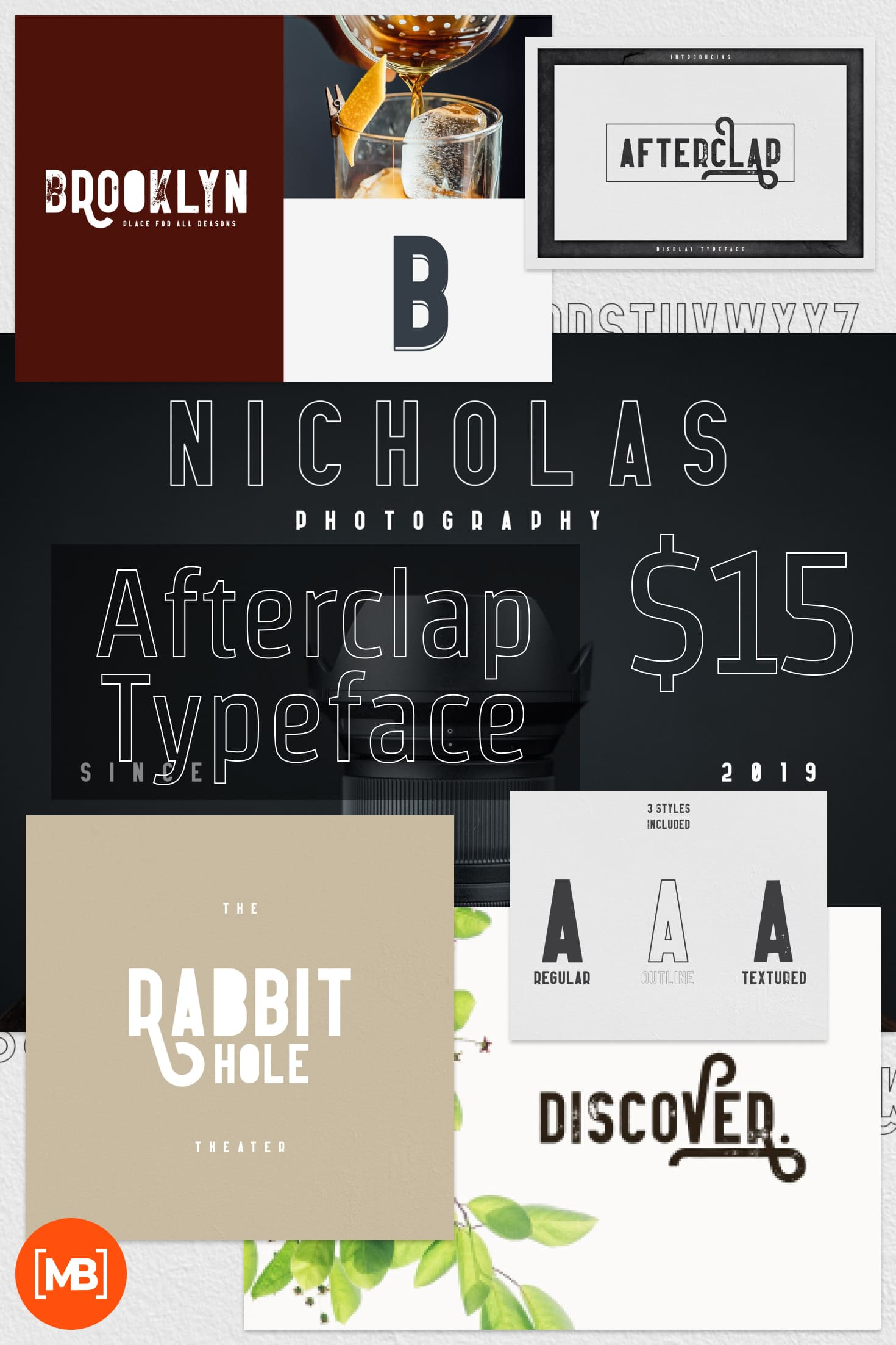 Pinterest Image: Afterclap Typeface - 3 Styles Playfair Display Font.