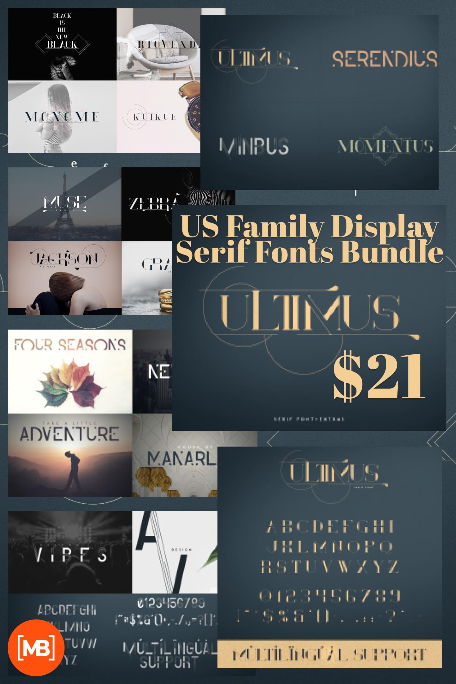 Pinterest Image: US Family Display Serif Fonts Bundle: 2 Serif Fonts & 2 Display Fonts - $21.