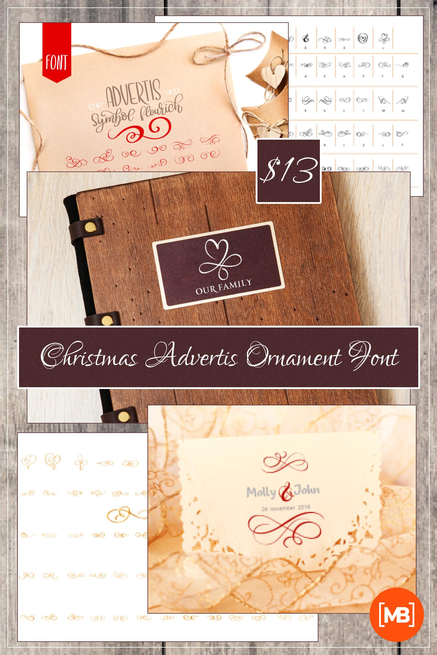 Pinterest Image: Christmas Advertis Ornament Font - $13.