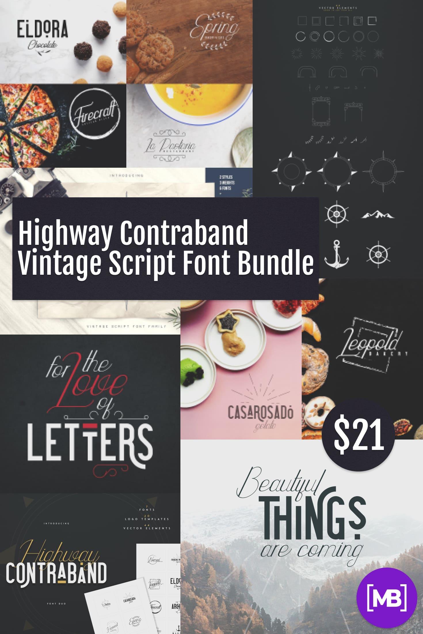 Pinterest Image: Highway Contraband Vintage Script Font Bundle: Font Duo + 20 Logo Templates + 44 Vector Elements.
