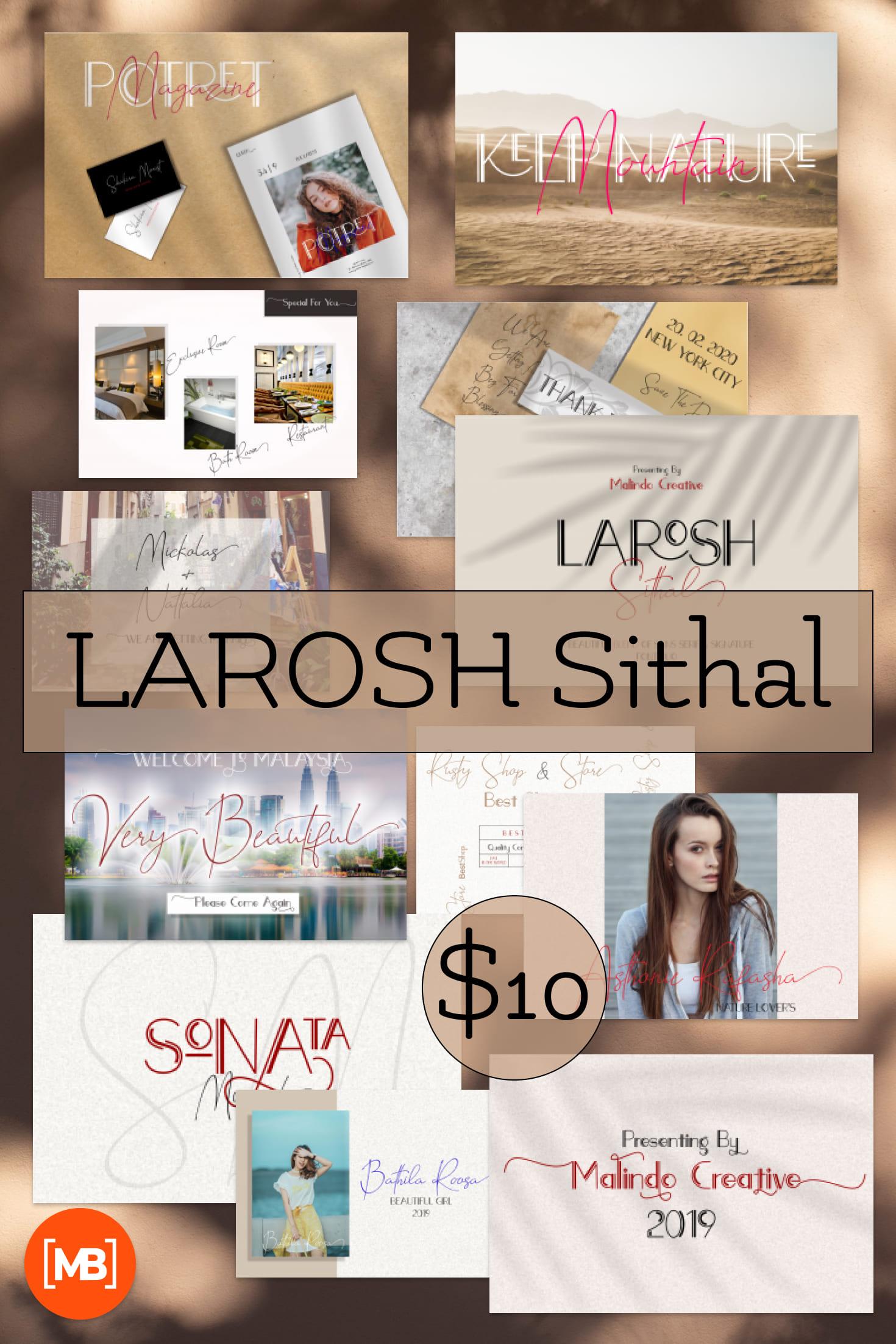 Pinterest Image: Hipster Script Fonts: LAROSH Sithal Duo + Extra - $10.