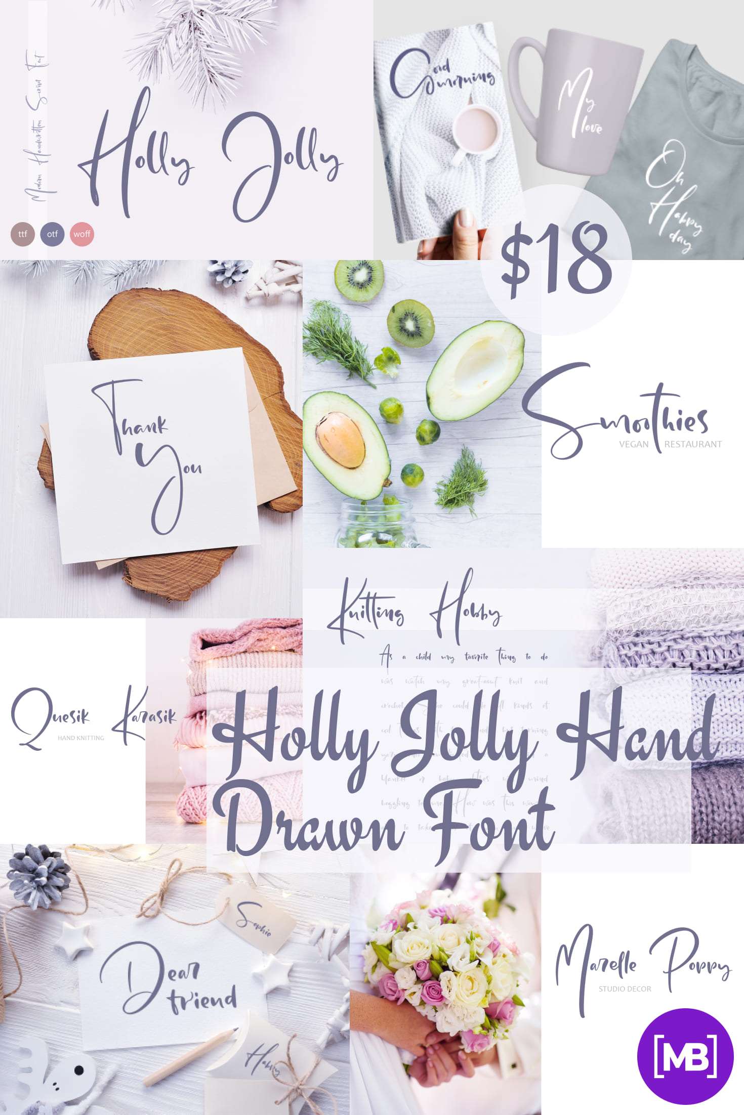 Pinterest Image: Holly Jolly Hand Drawn Font - $18.