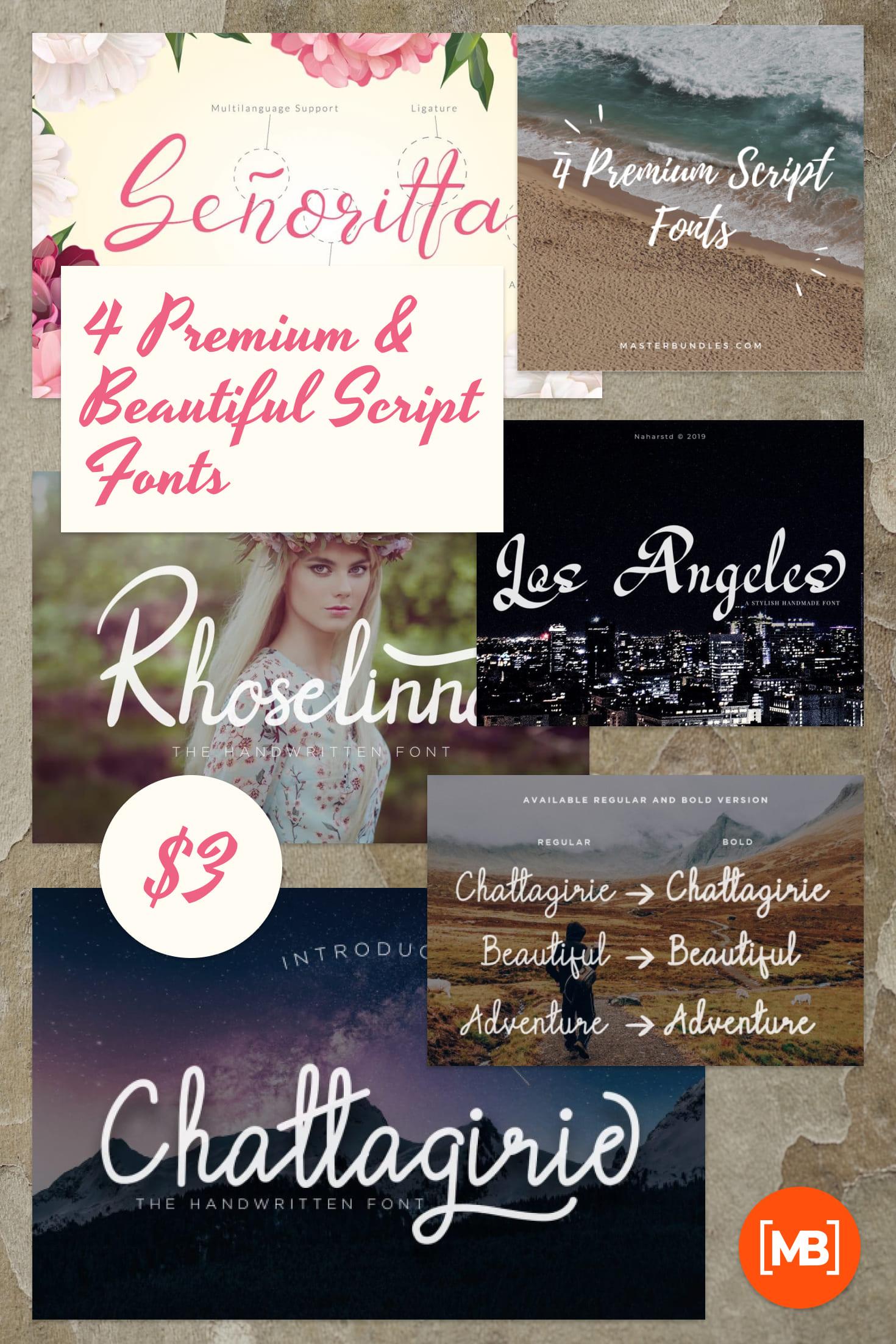 Pinterest Image: 4 Premium & Beautiful Script Fonts - 3$.