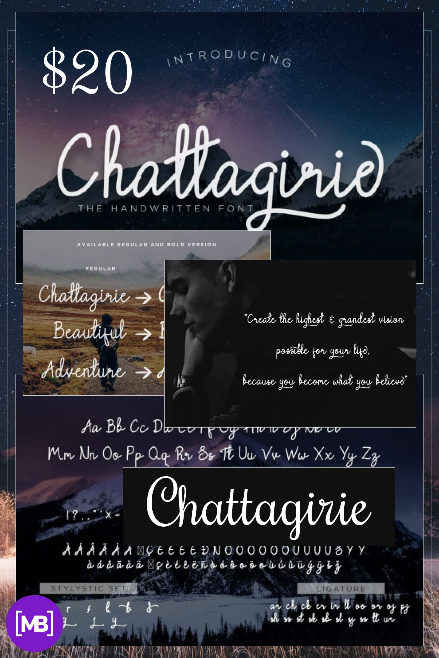 Pinterest Image: Chattagirie - HandwrittenScript Font - $3.