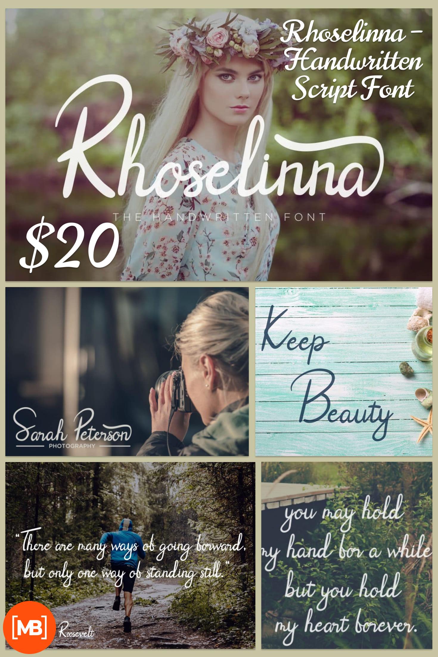 Pinterest Image: Rhoselinna - Handwritten Script Font - $3.