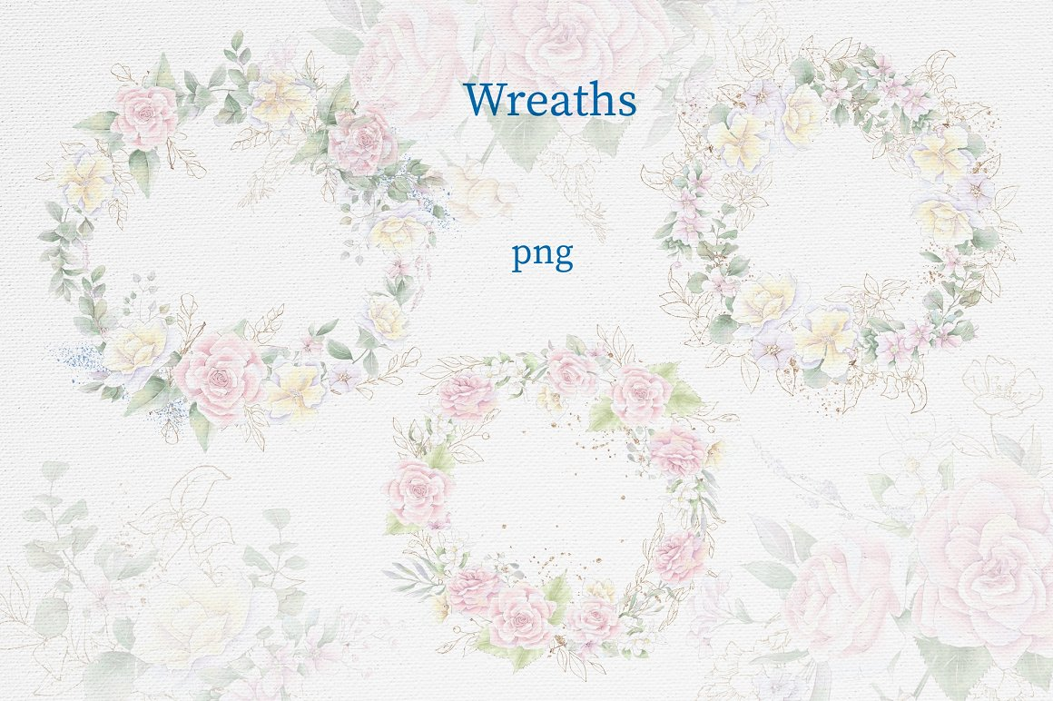 Pink Roses Clipart: Watercolor flowers PNG - 17