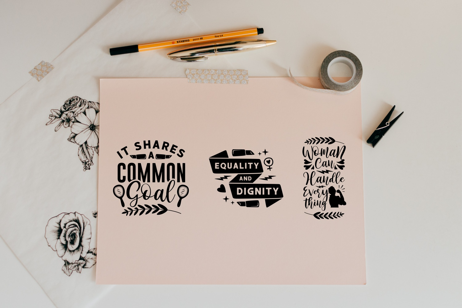 Three motivating phrases with graphic elements on pastel colored paper.