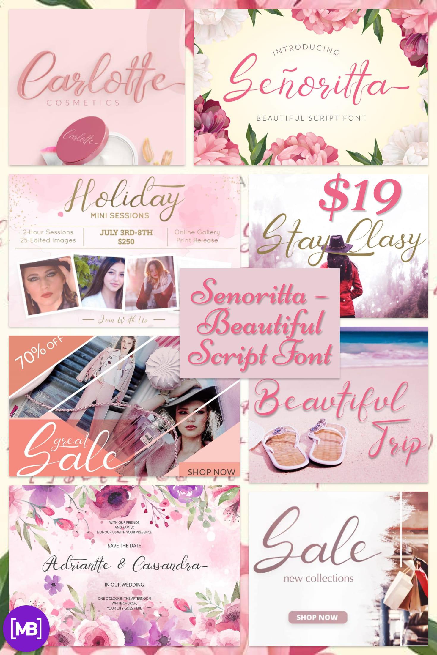 Pinterest Image: Senoritta - Beautiful Script Font - $3.