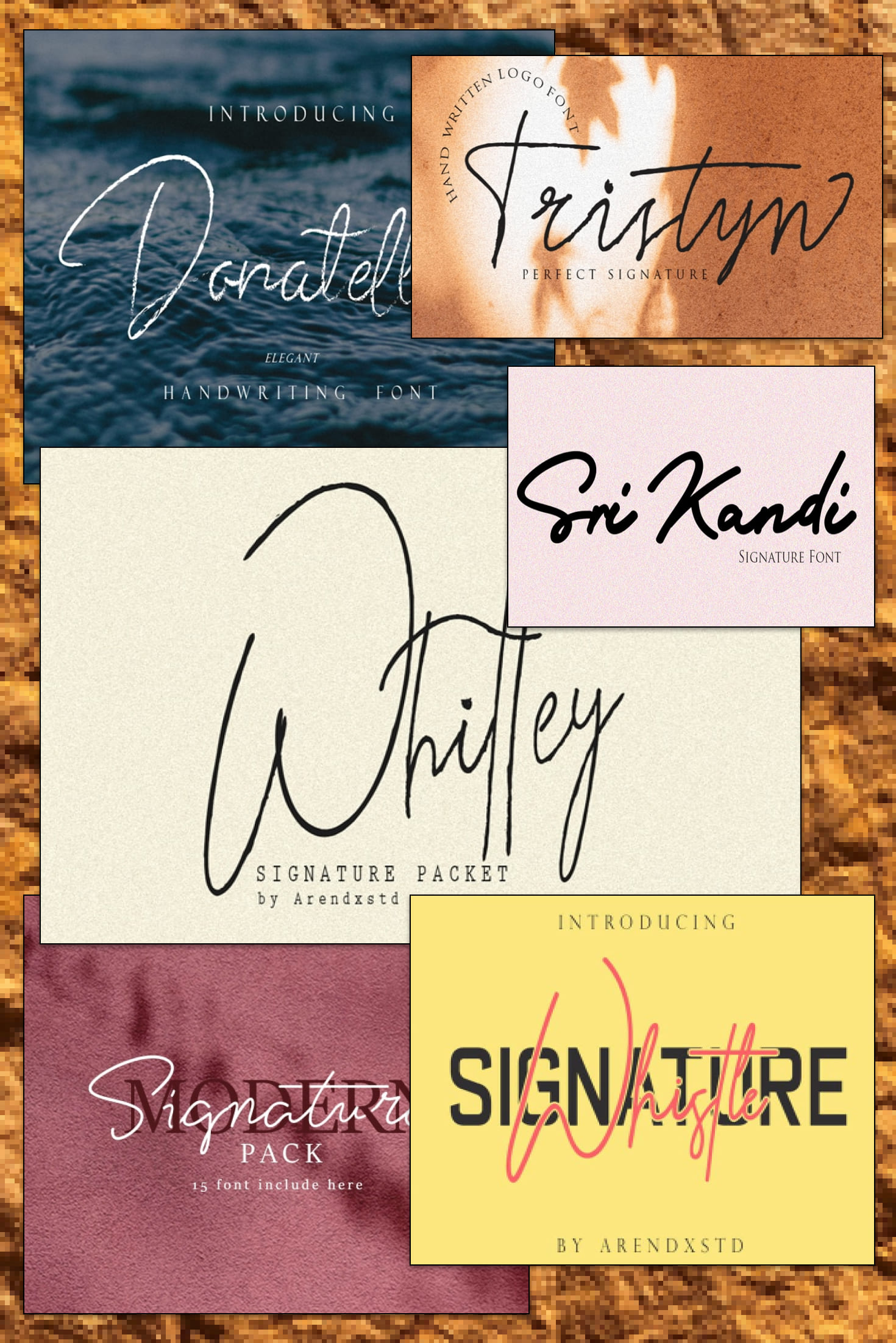 Pinterest Image: Modern Signature Fonts Bundle - 15 Items - $10.