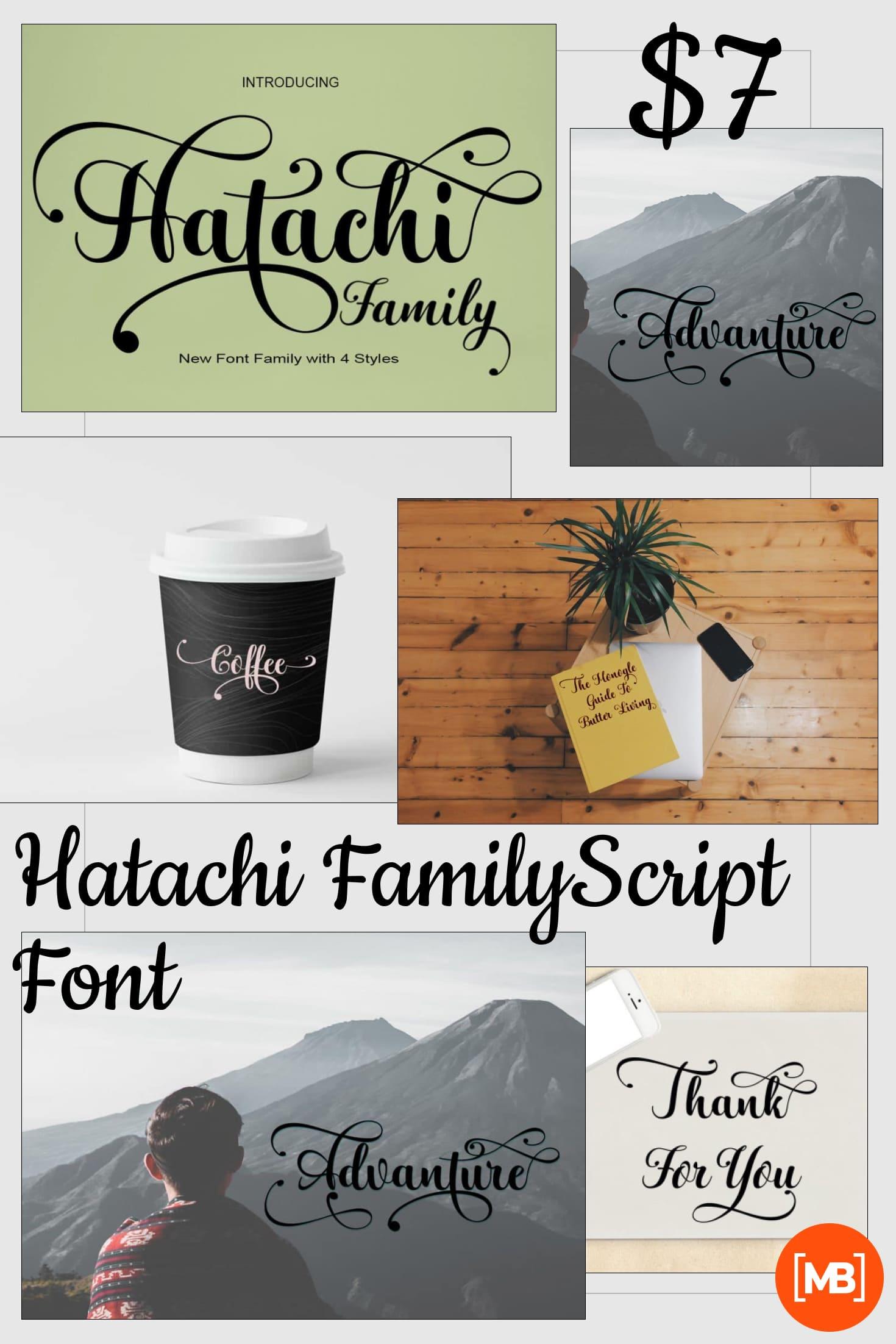 Pinterest Image: Hatachi FamilyScript Font - $7.