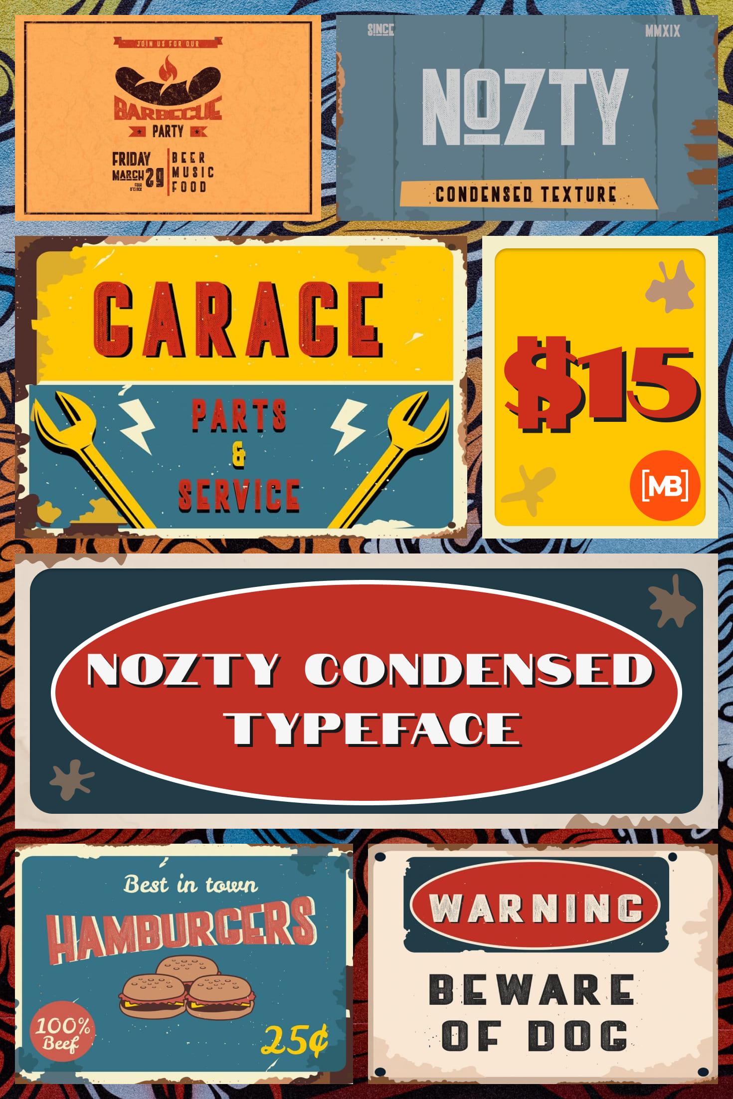 Pinterest Image: Vintage Western Font - Nozty Condensed Typeface - $15.