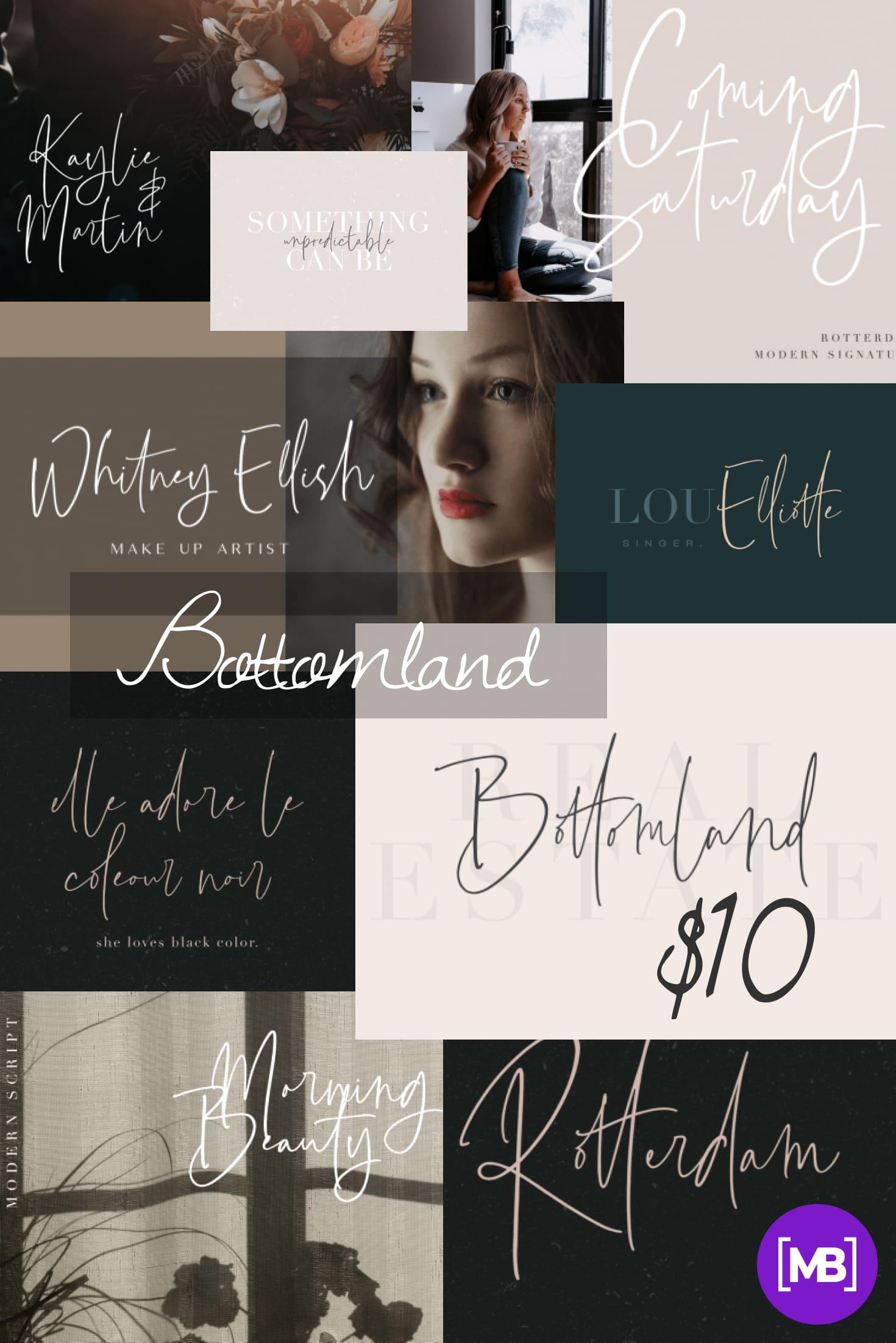 Pinterest Image: Bottomland - Family Signature Script - $10.