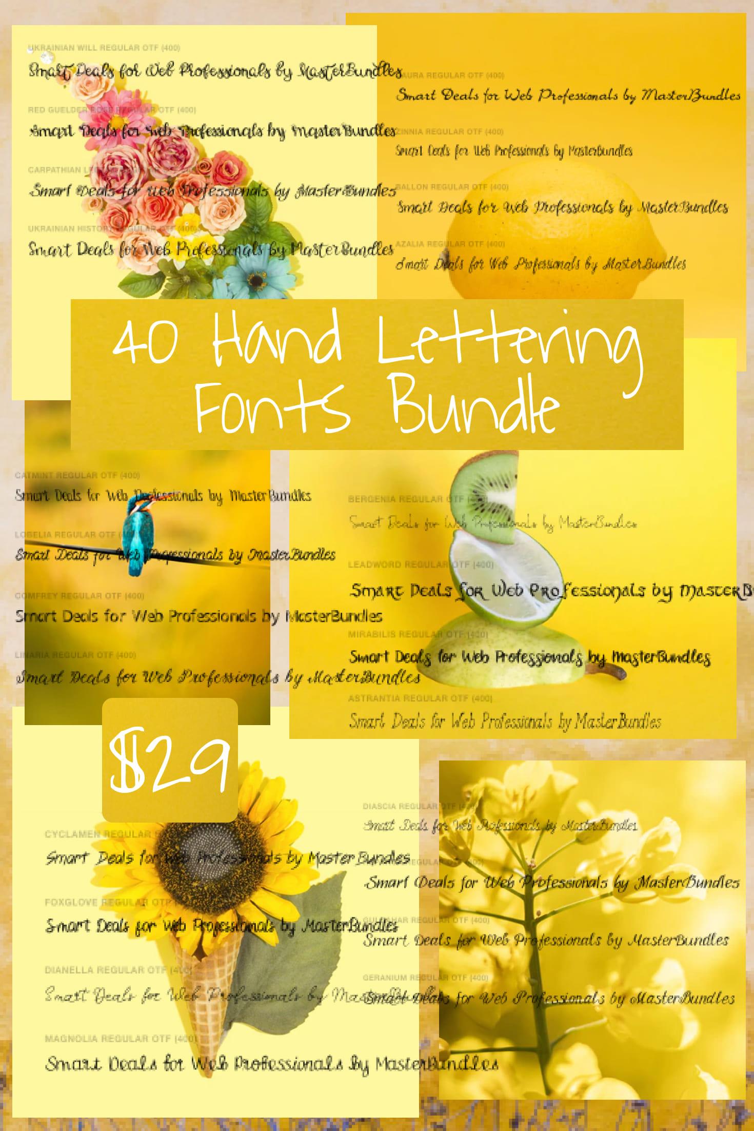 Pinterest Image: 40 Hand Lettering Fonts Bundle for $29 Only.