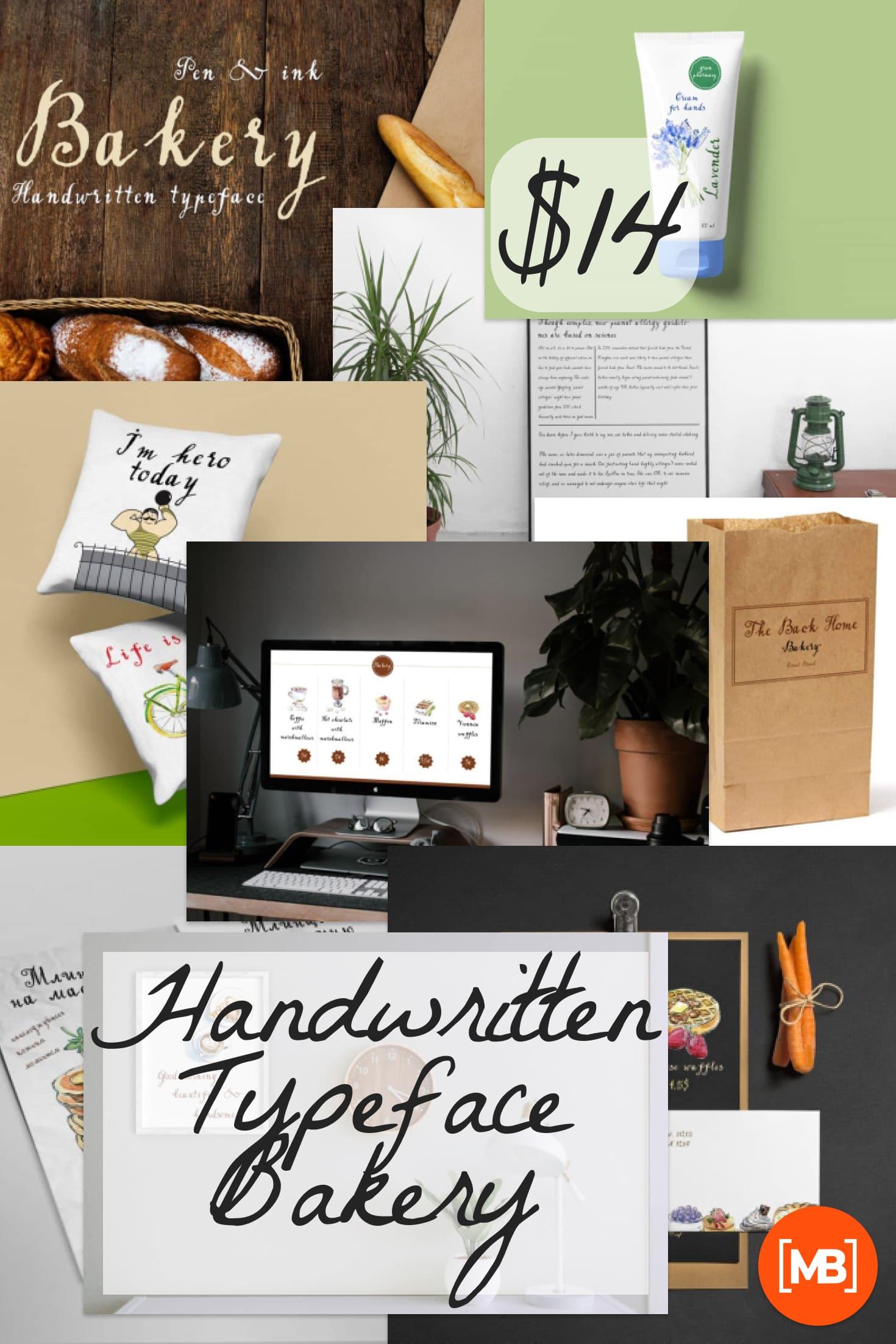 Pinterest Image: Handwritten Typeface Bakery - $14.