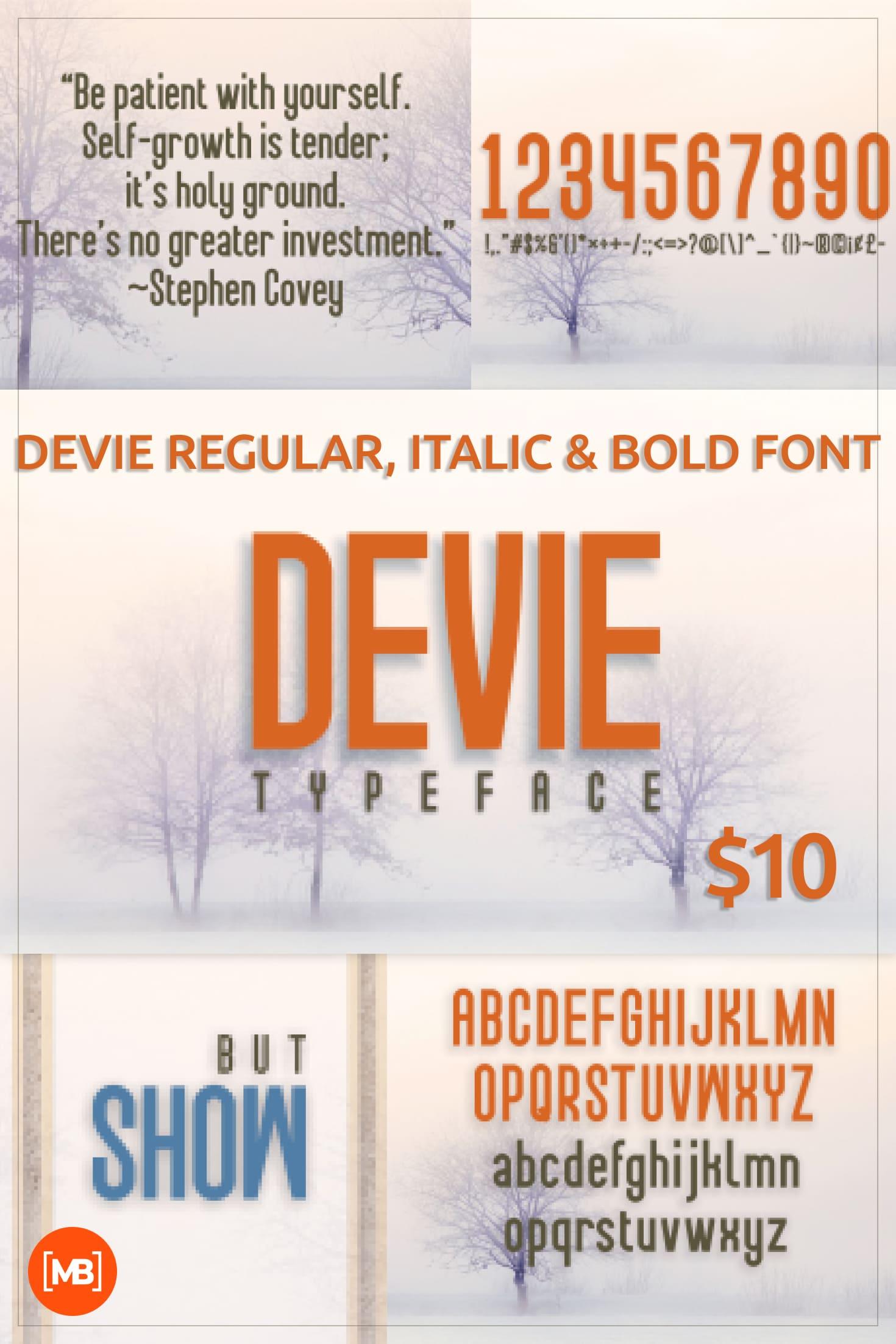 Pinterest Image: Devie Regular, Italic & Bold Font.