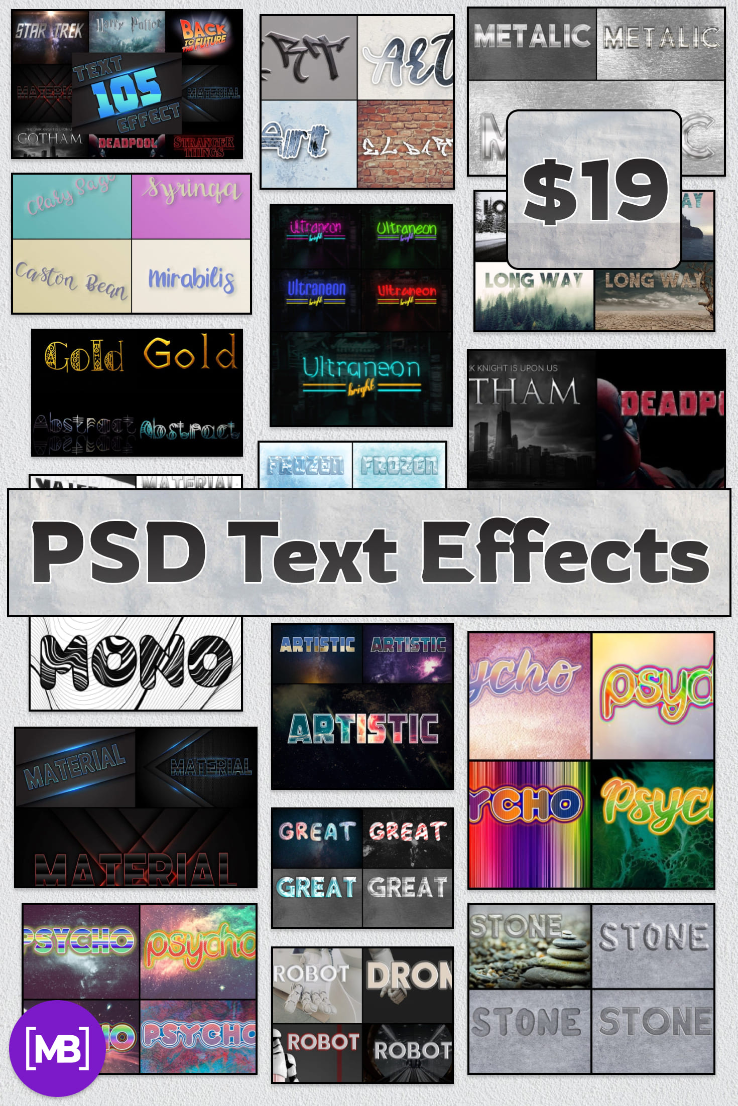 Pinterest Image: PSD Text Effects - 105 Pro Phtoshop Effects for Texts.