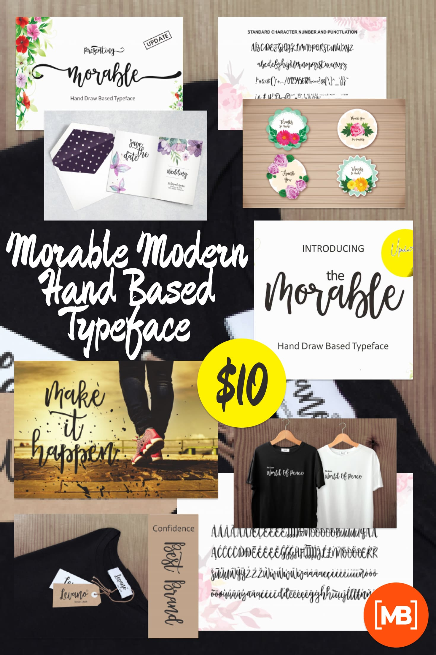 Pinterest Image: Morable Modern Hand Based Typeface - $10.