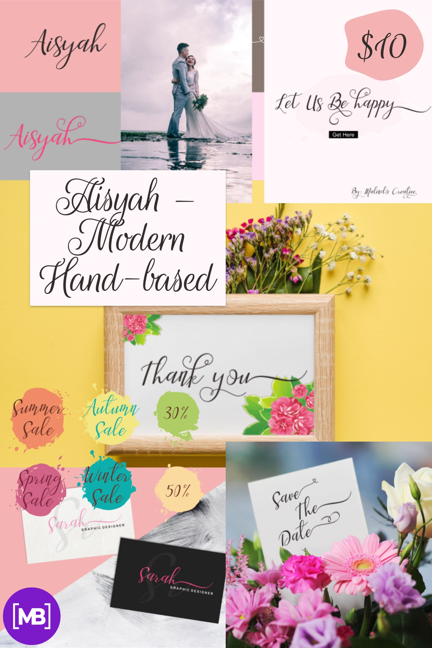 Aisyah - Modern Hand-based Typography - $10. Collage Image.