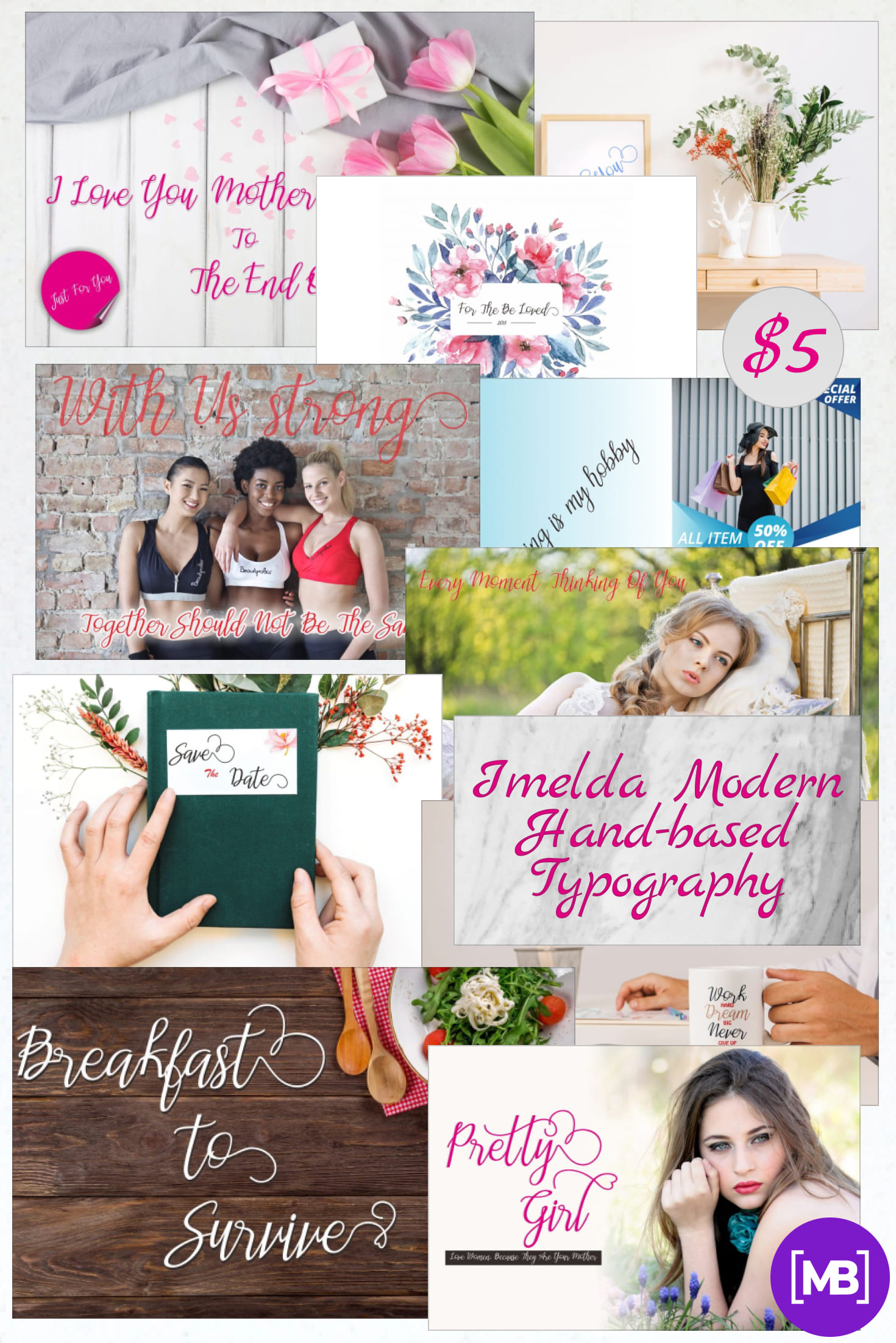 Pinterest Image: Imelda Modern Hand-based Typography - $5.