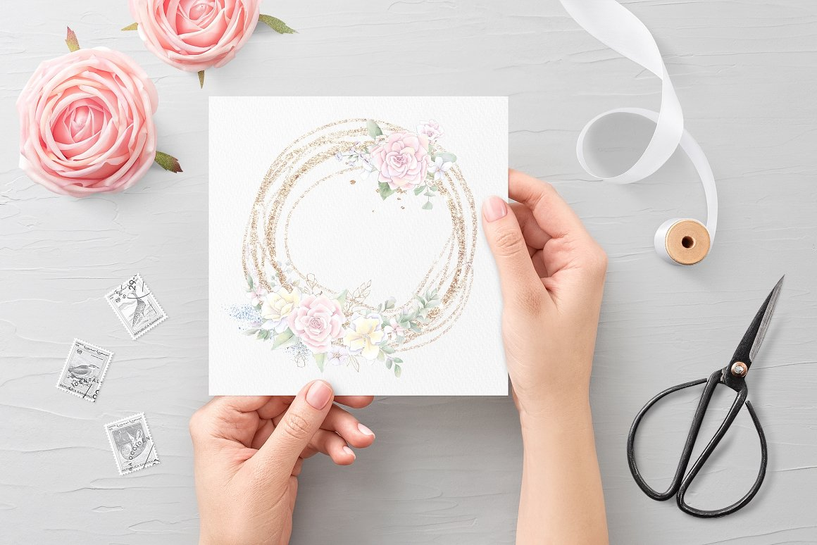 Pink Roses Clipart: Watercolor flowers PNG - 19