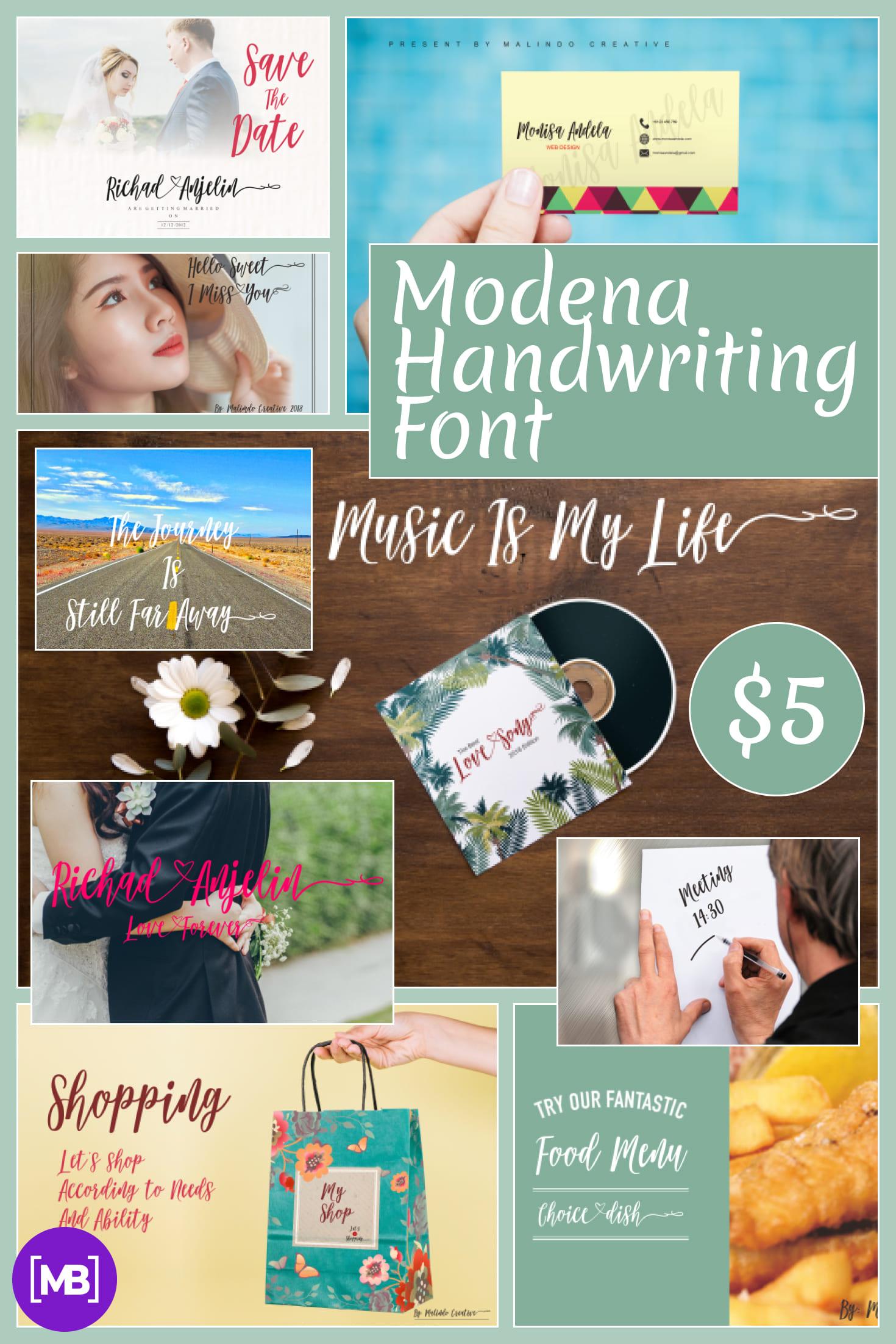 Pinterest Image: Modena Handwriting Font - $5.