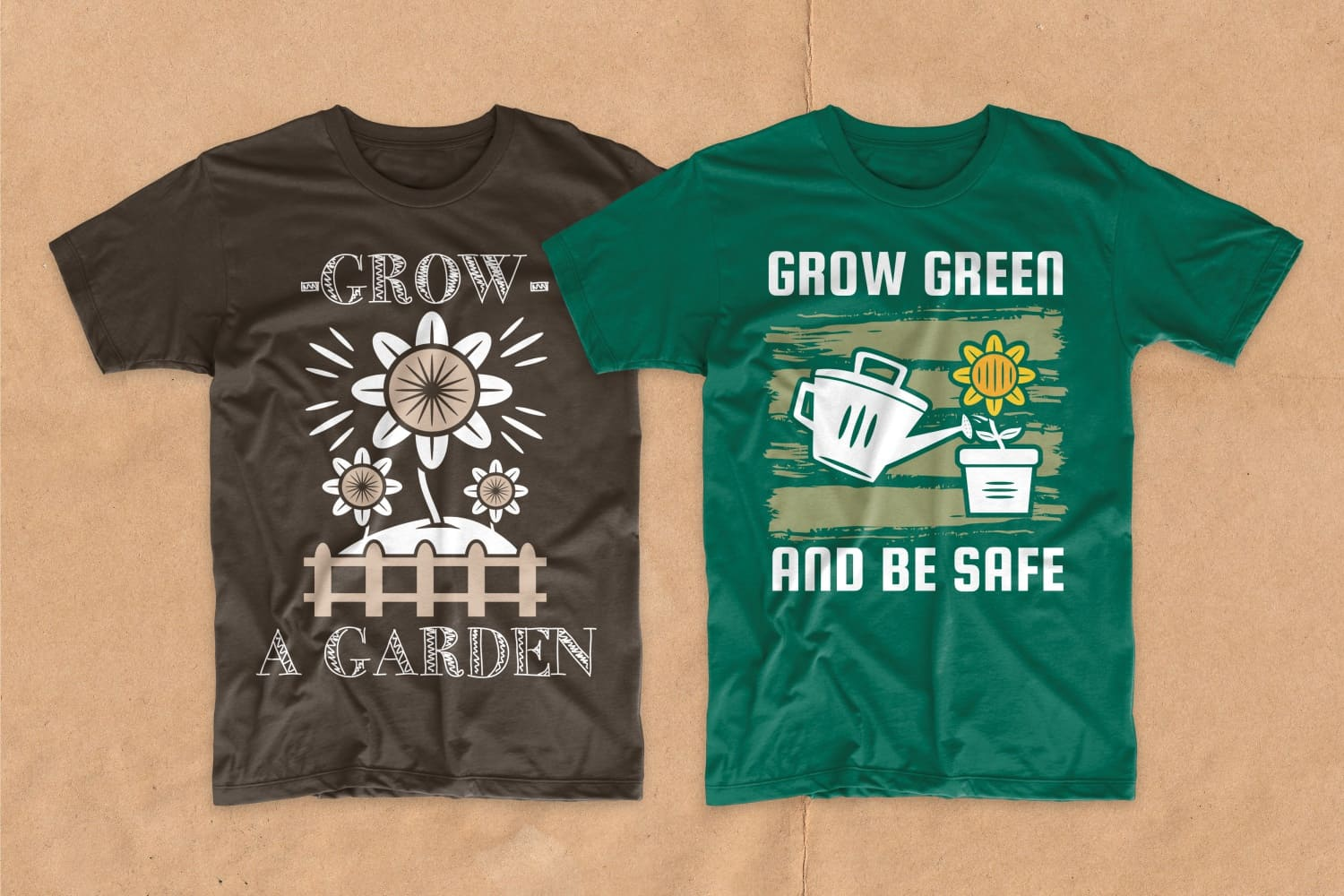 Brown and white T-shirts with phrase and home flower.