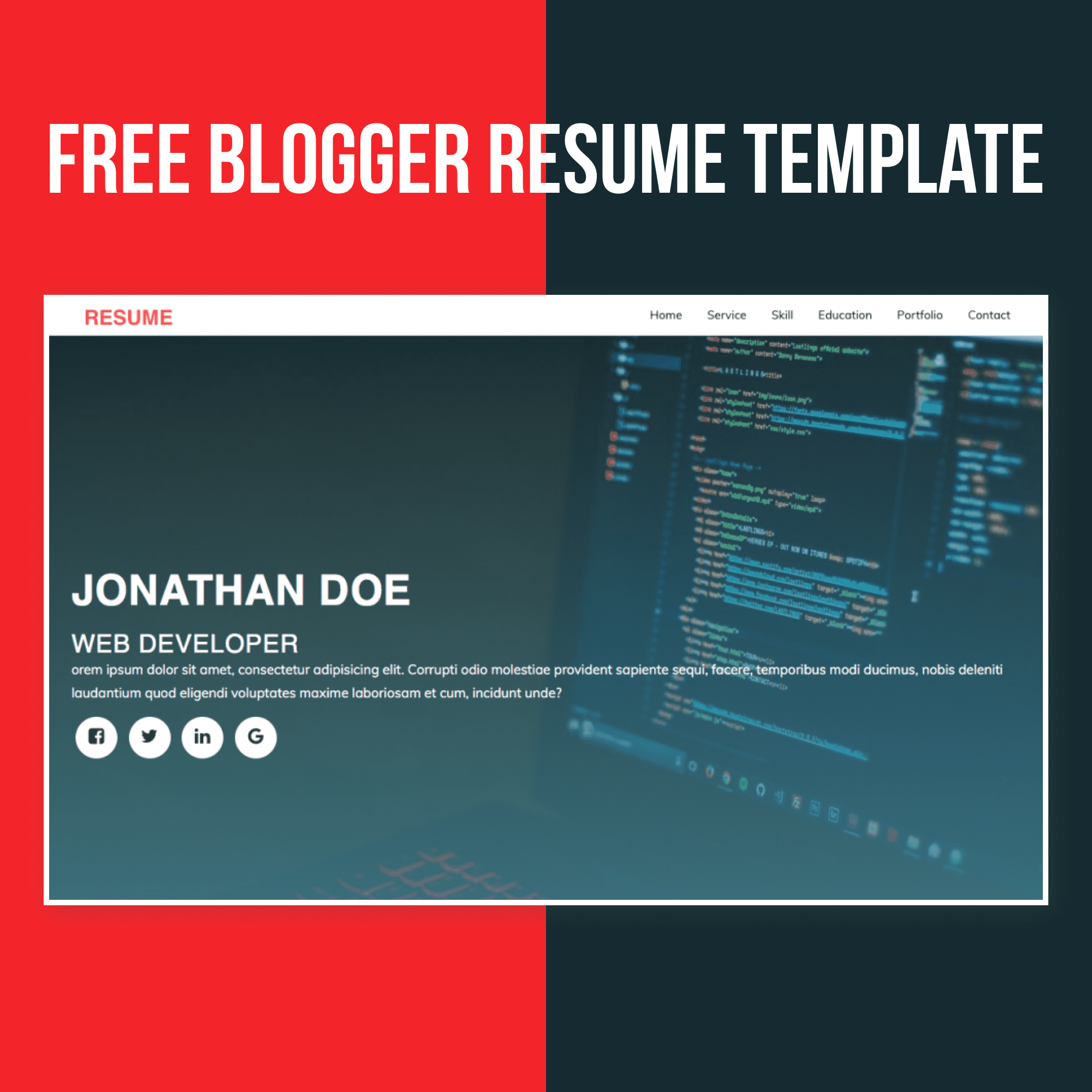 Free Blogger Resume Template main preview
