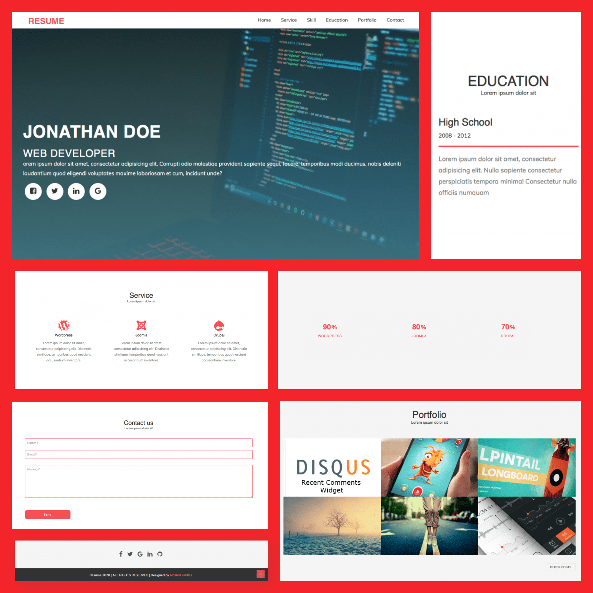 Free Blogger Resume Template features